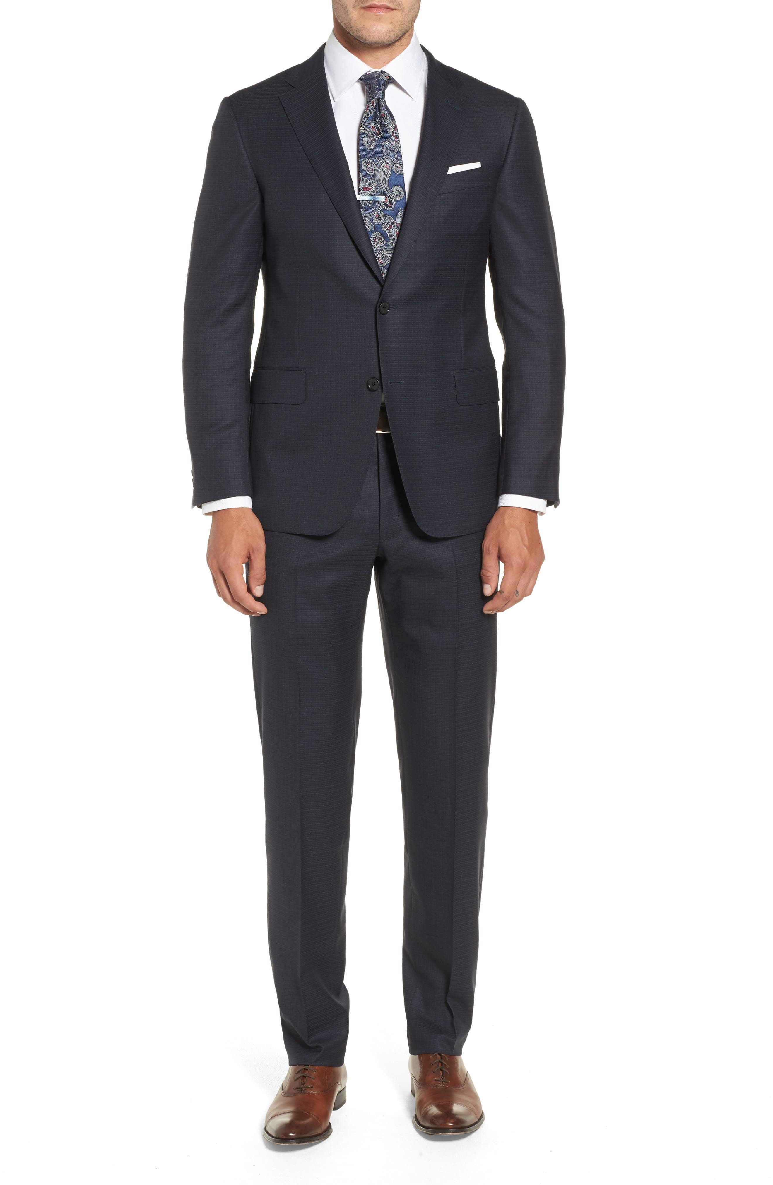 Classic B Fit Check Wool & Cashmere Suit,                             Main thumbnail 1, color,                             Navy