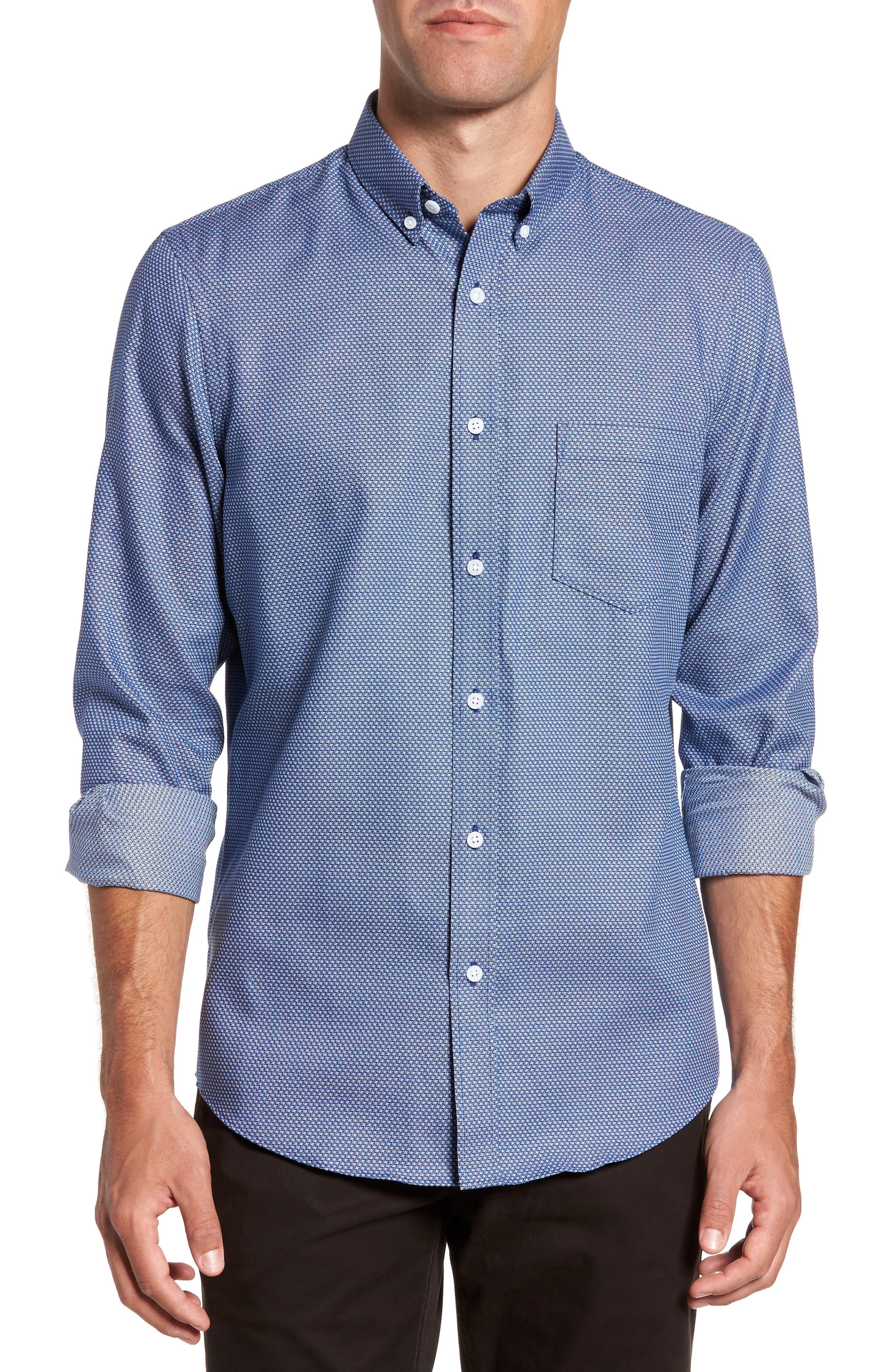 Non-Iron Regular Fit Print Sport Shirt,                         Main,                         color, Blue Estate Square Dobby