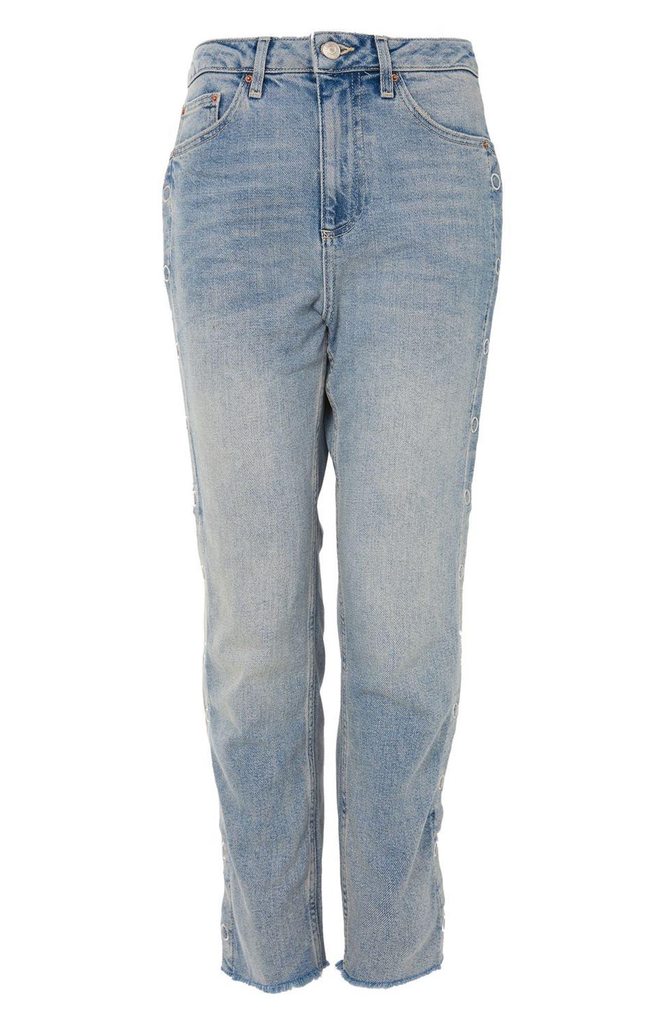 Side Snap Straight Leg Jeans,                             Alternate thumbnail 4, color,                             Light Denim