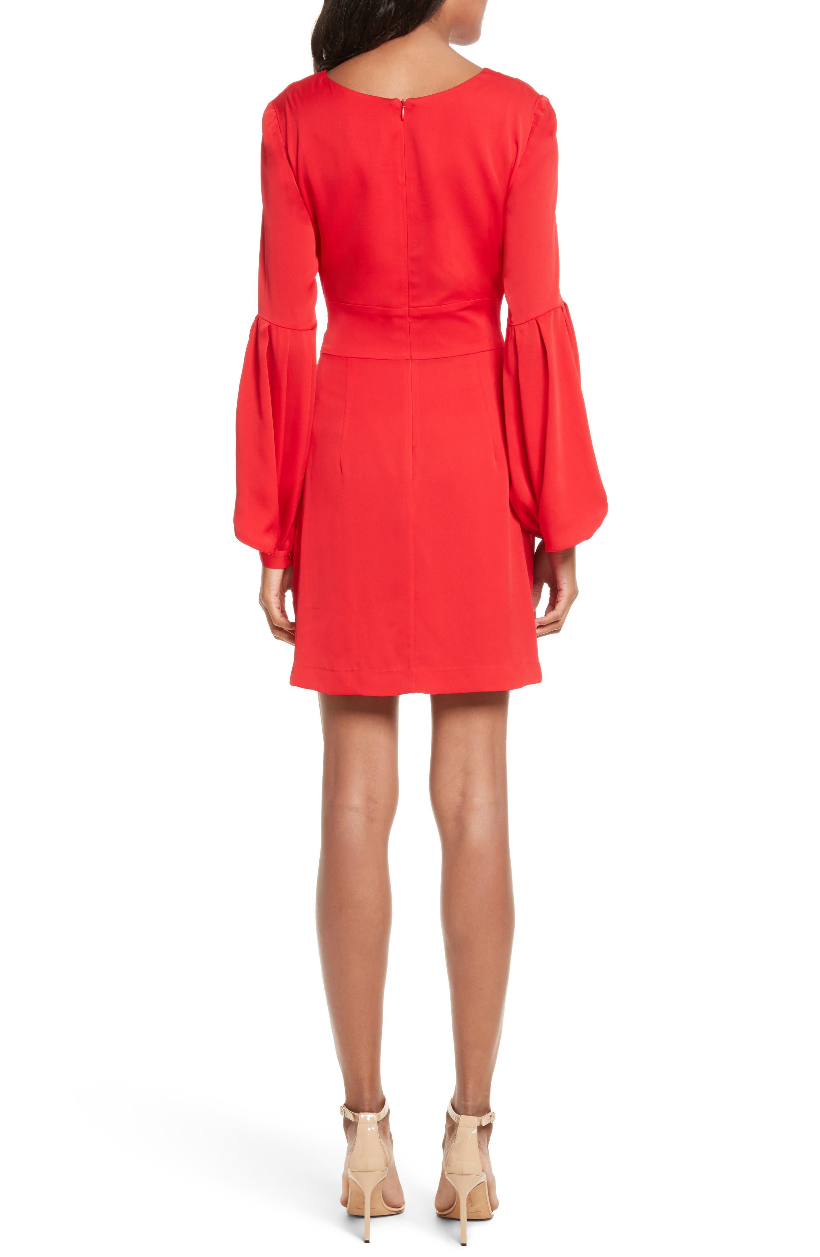 Kayla Deep V-Neck Stretch Silk Dress,                             Alternate thumbnail 2, color,                             Lipstick