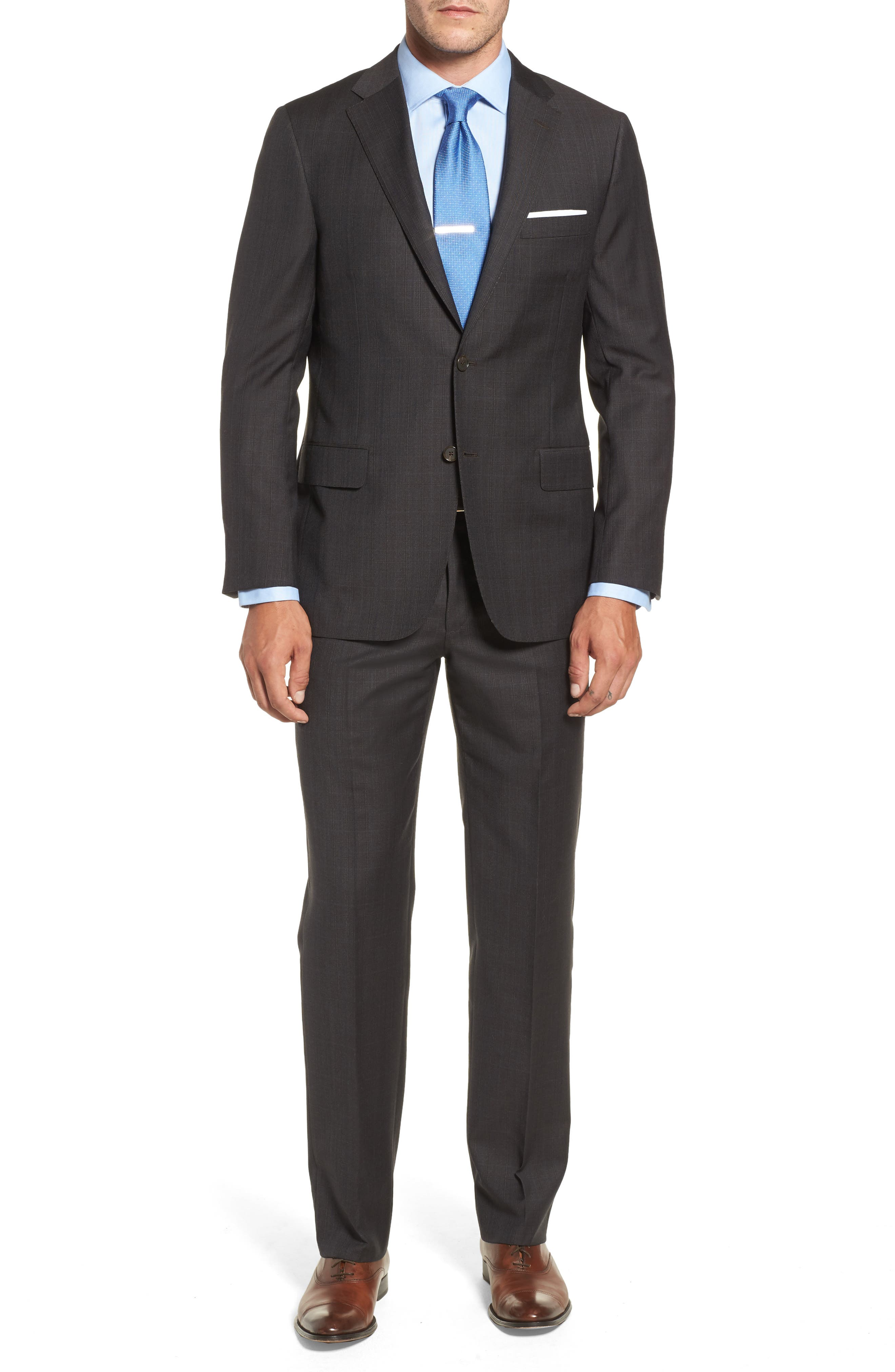 Classic B Fit Check Wool & Cashmere Suit,                         Main,                         color, Brown