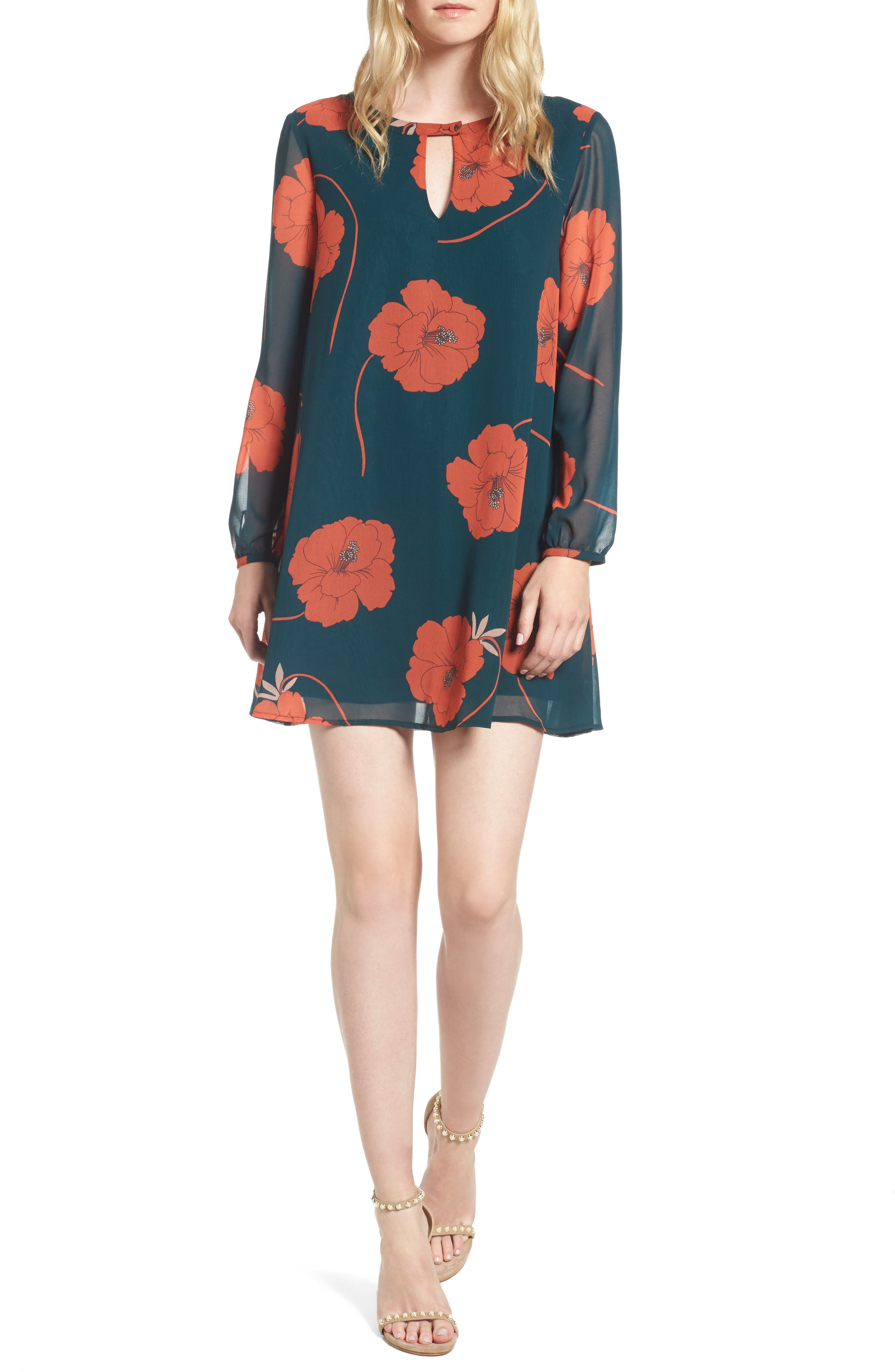 Sybella Floral Shift Dress,                             Main thumbnail 1, color,                             Forest Green