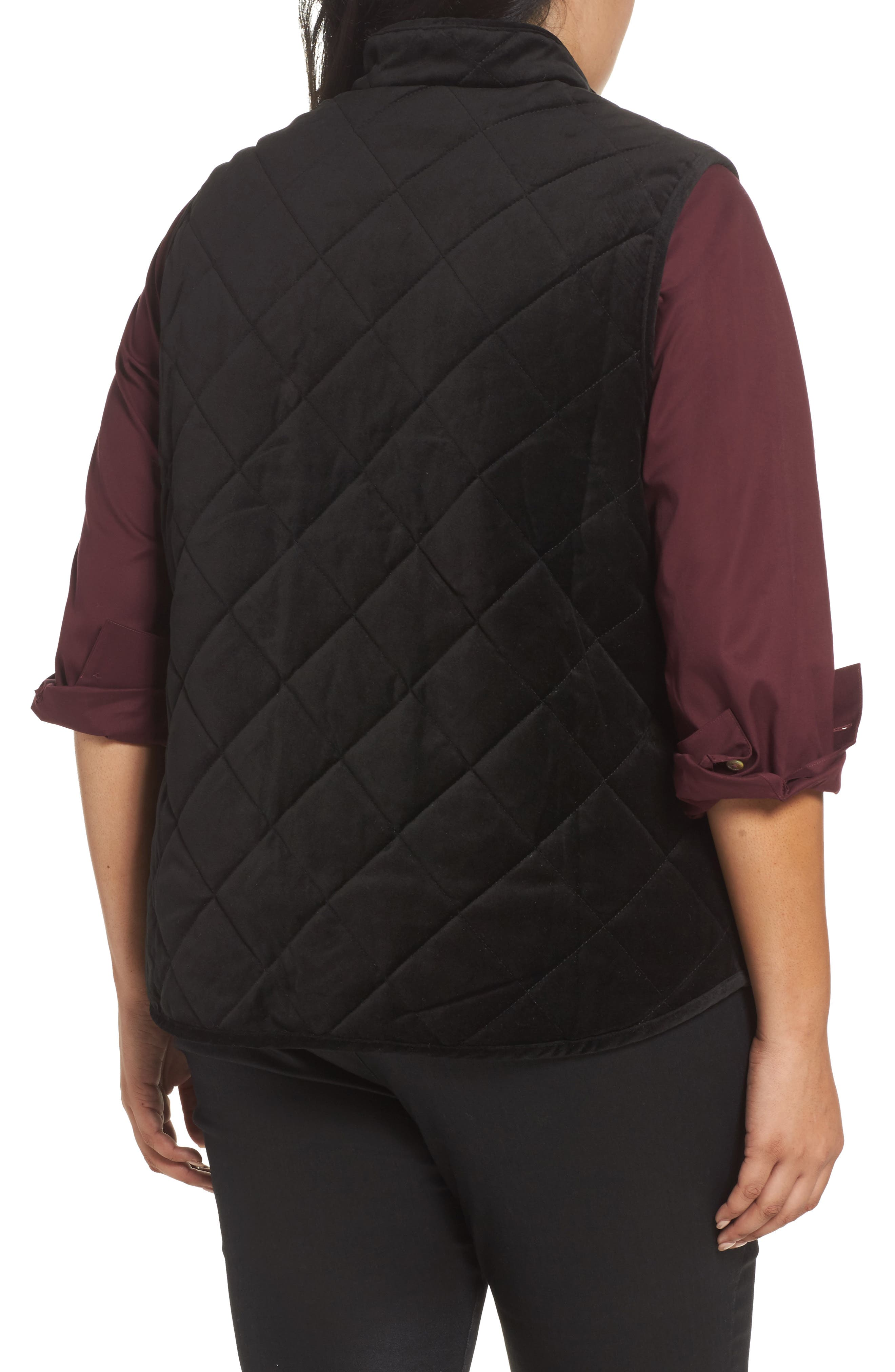 Lena Quilted Velvet Vest,                             Alternate thumbnail 2, color,                             Black