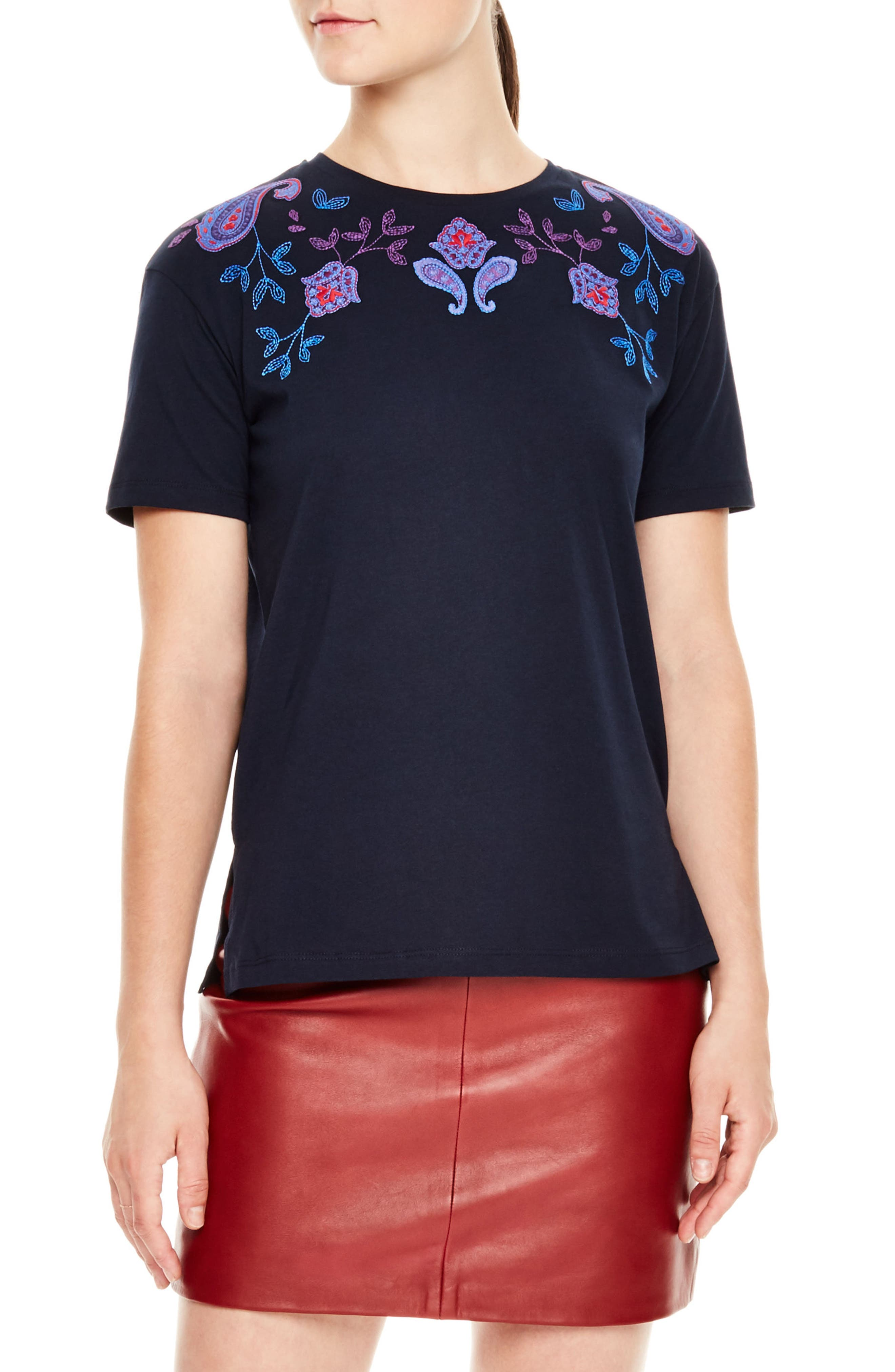Embroidered Crewneck Tee,                         Main,                         color, Navy