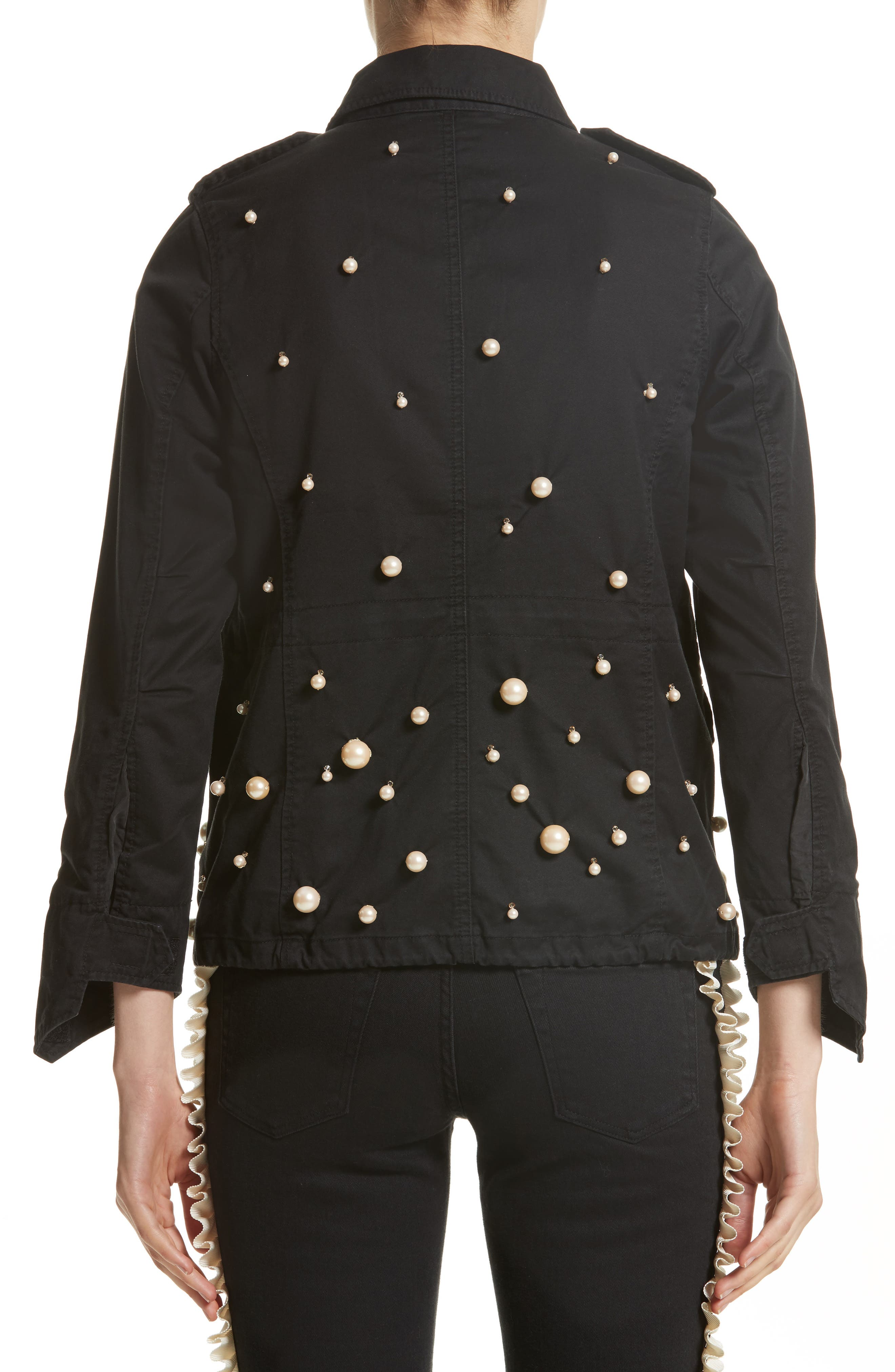 Snow Imitation Pearl Embellished Field Jacket,                             Alternate thumbnail 2, color,                             Black