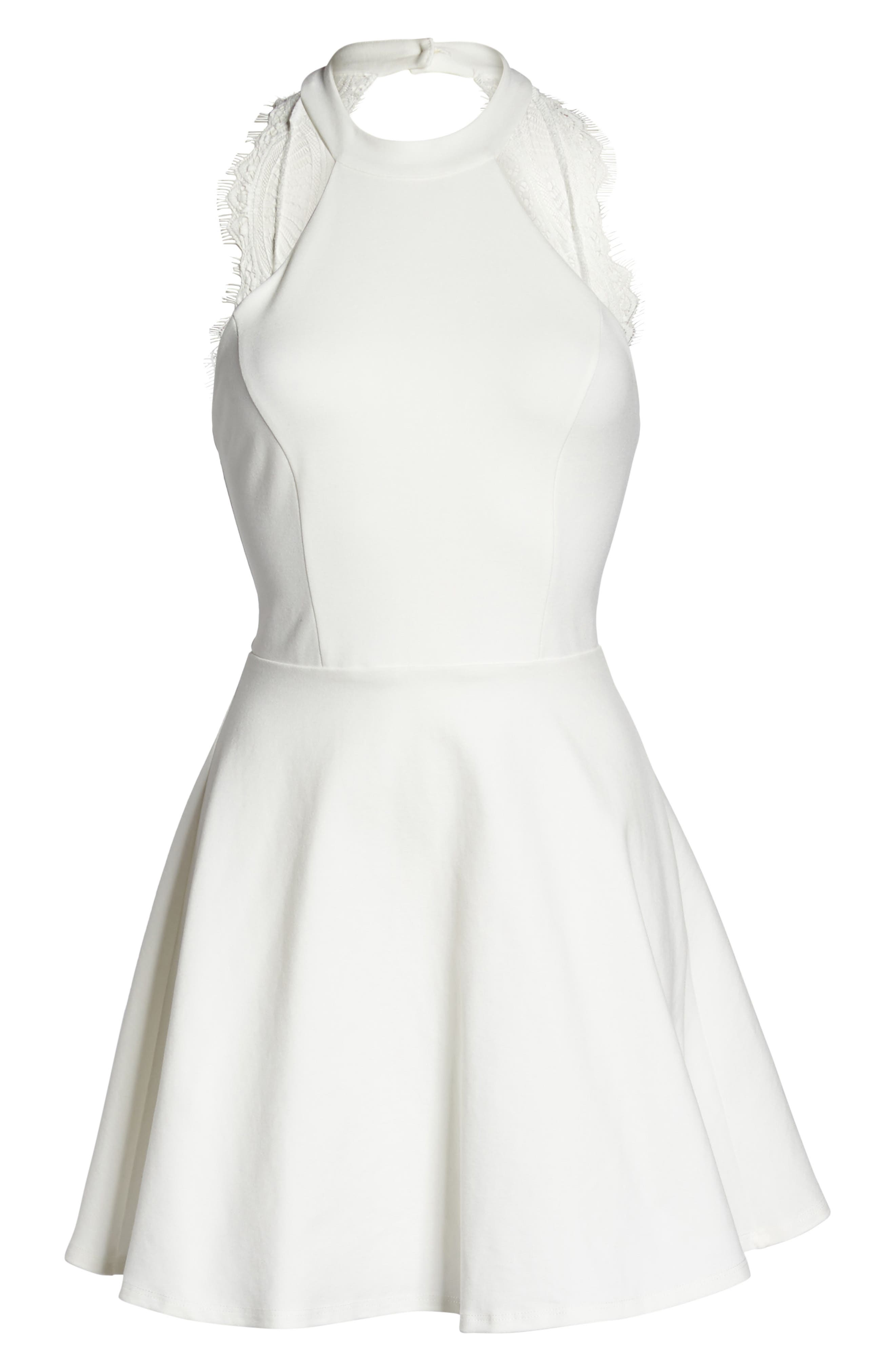 Endlessly Alluring Lace Trim Fit & Flare Dress,                             Alternate thumbnail 6, color,                             White