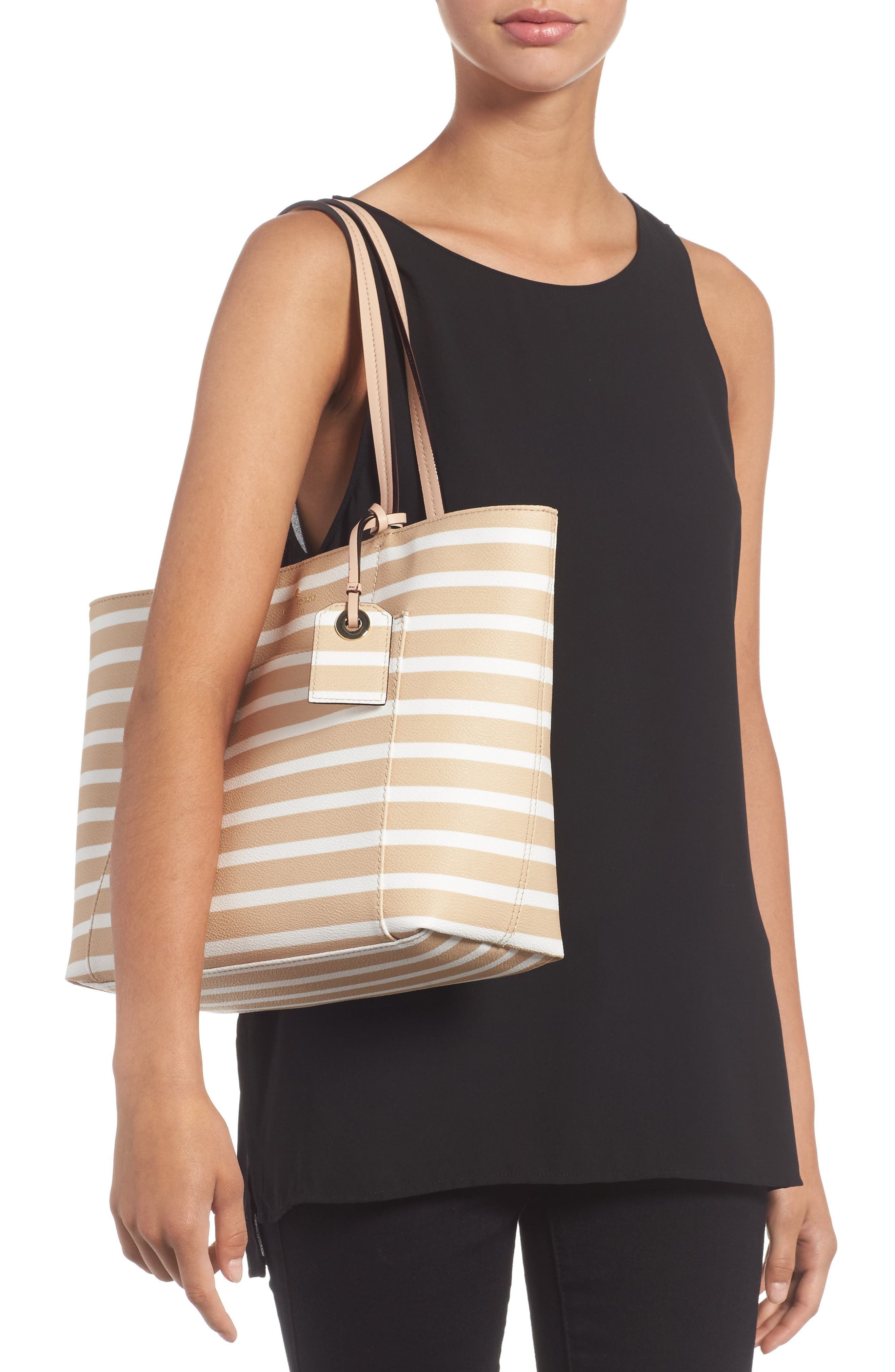 hyde lane - small riley faux leather tote,                             Alternate thumbnail 2, color,                             Classic Camel/ Cream