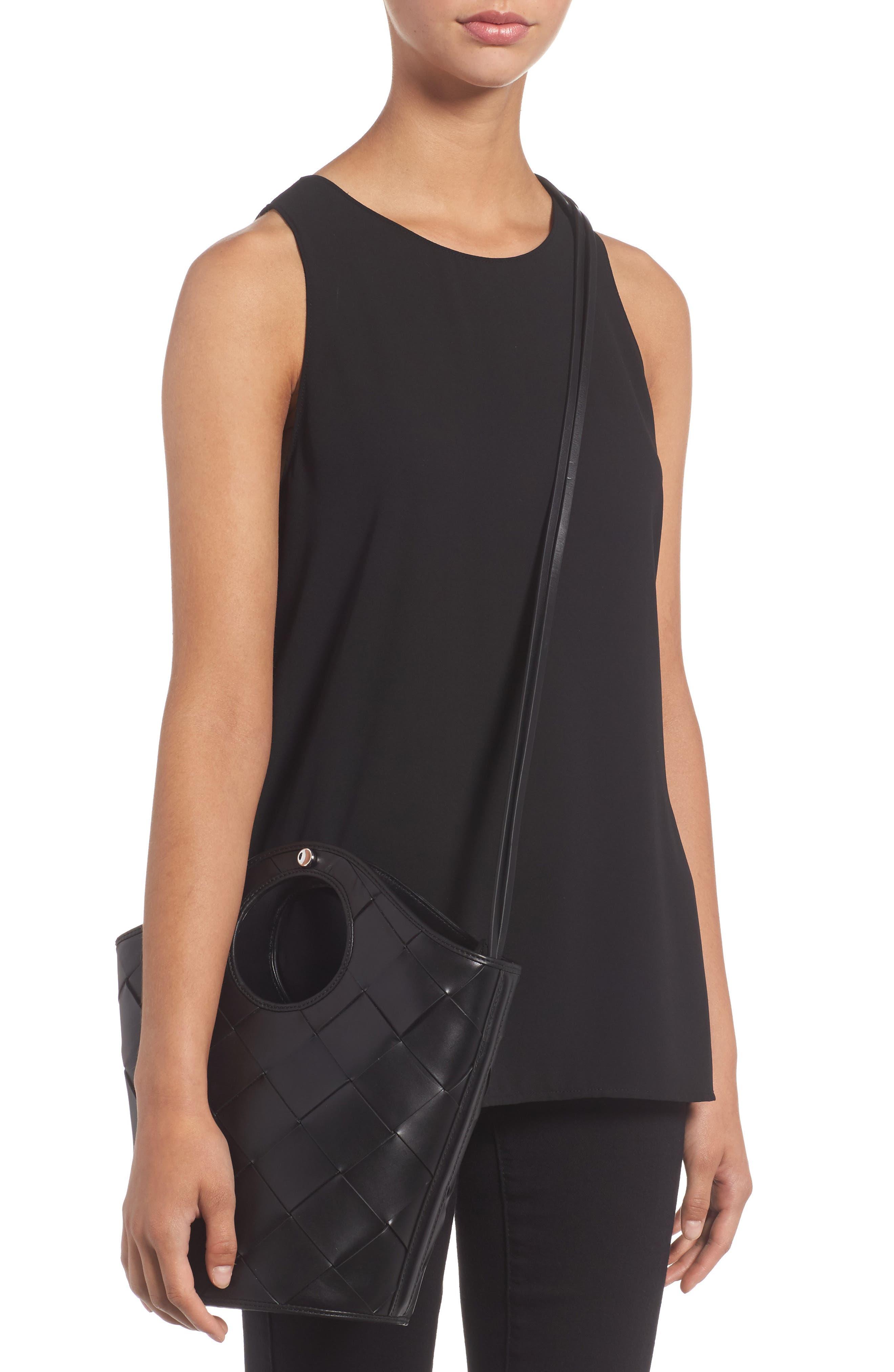 Small Market Woven Leather Crossbody Shopper,                             Alternate thumbnail 2, color,                             Black