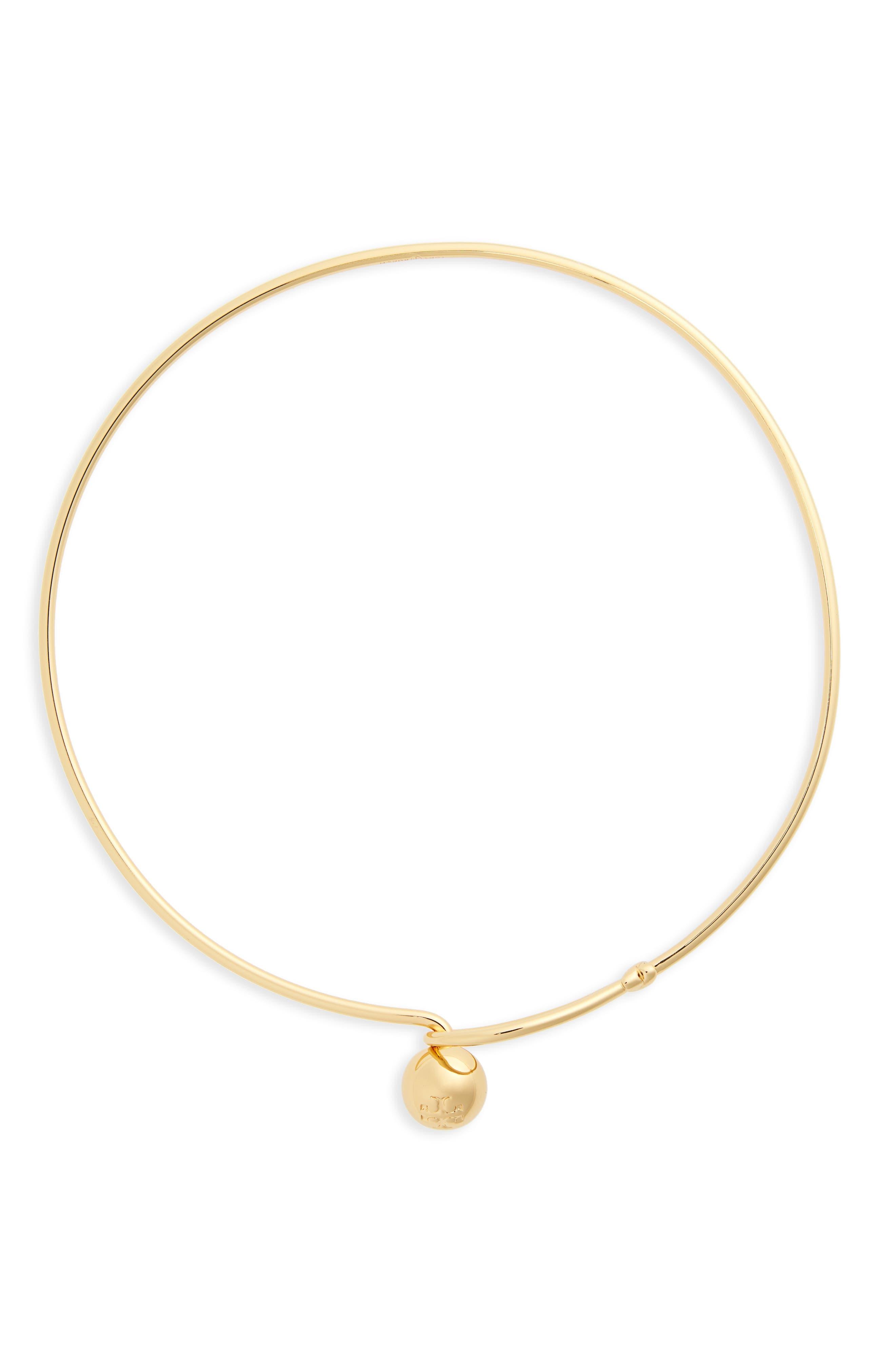 Logo Loop Collar Necklace,                             Main thumbnail 1, color,                             Tory Gold