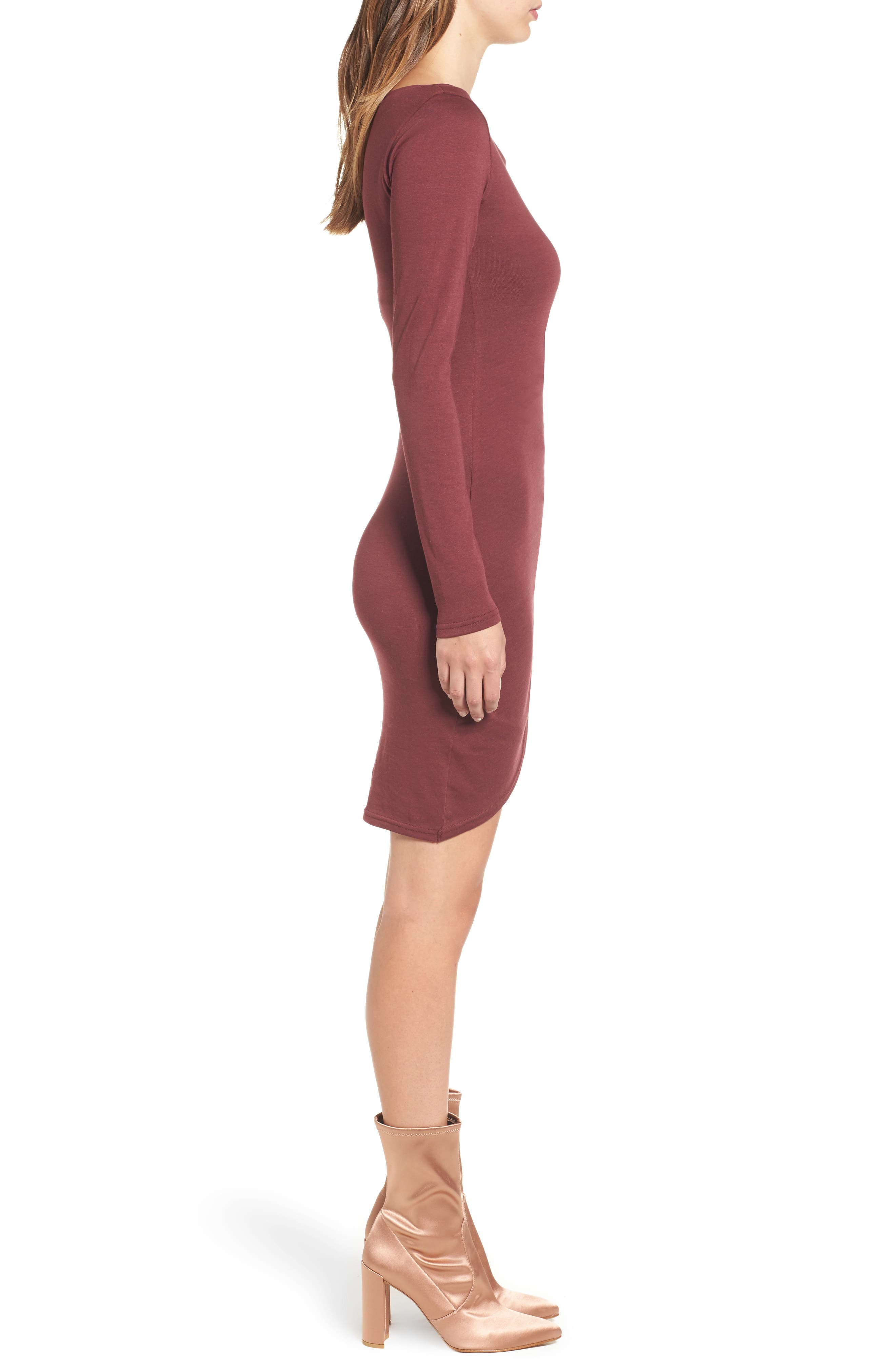 Ruched Long Sleeve Dress,                             Alternate thumbnail 3, color,                             Red Tannin