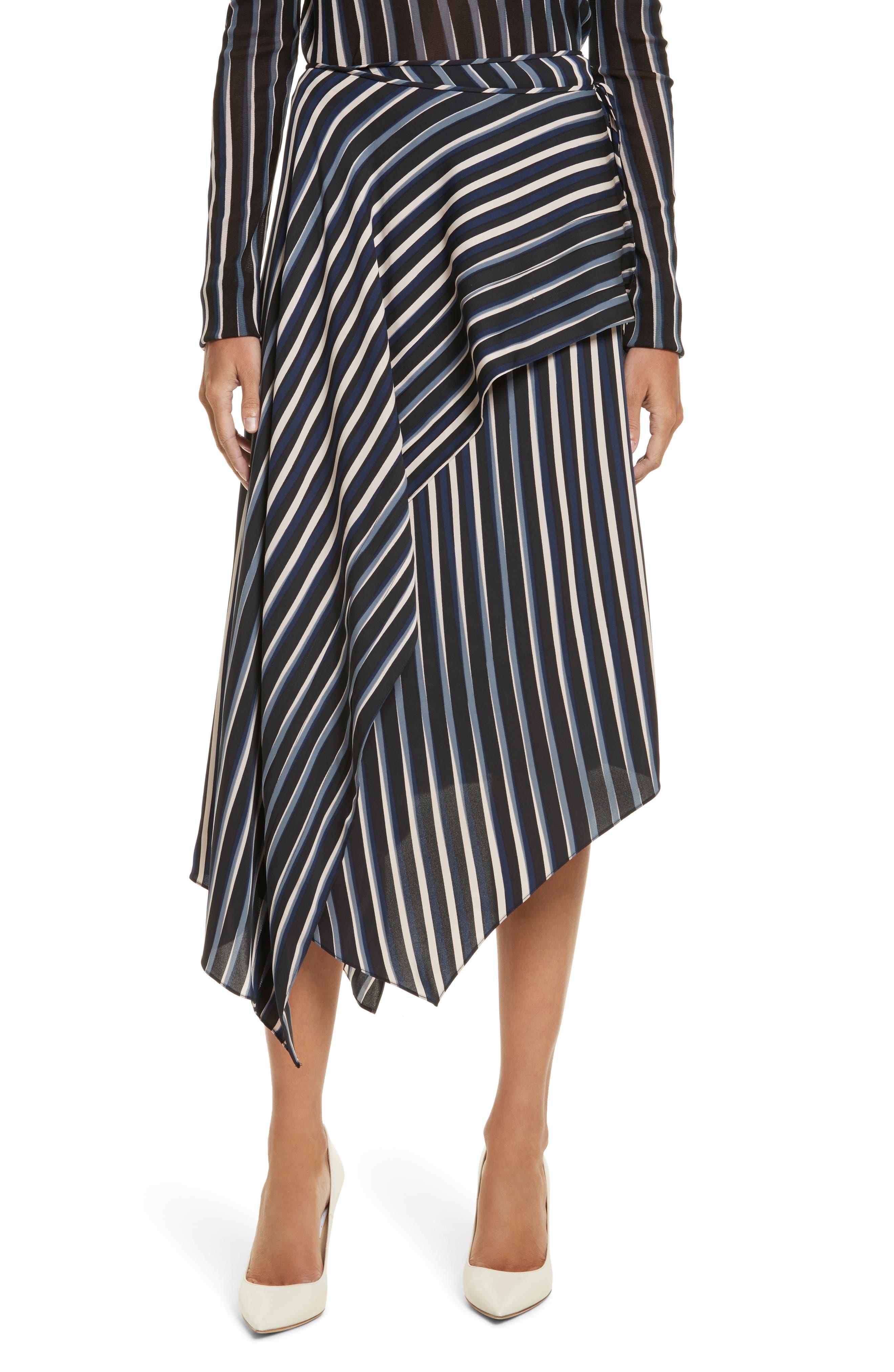 Striped Asymmetrical Midi Skirt,                             Main thumbnail 1, color,                             Whiston Black