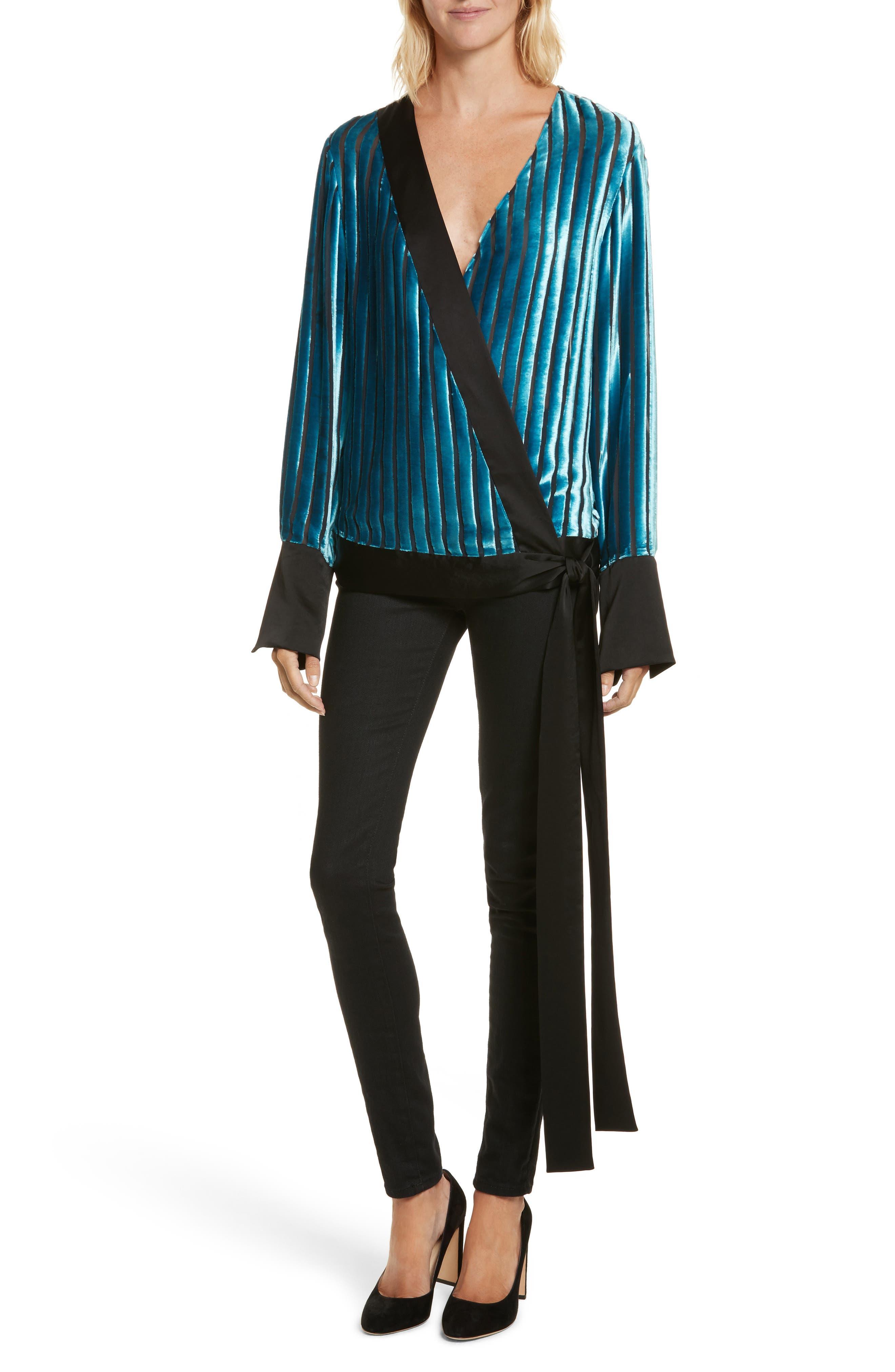 Diane von Furstenberg Velvet Stripe Blouse,                             Main thumbnail 1, color,                             Black/ Marine