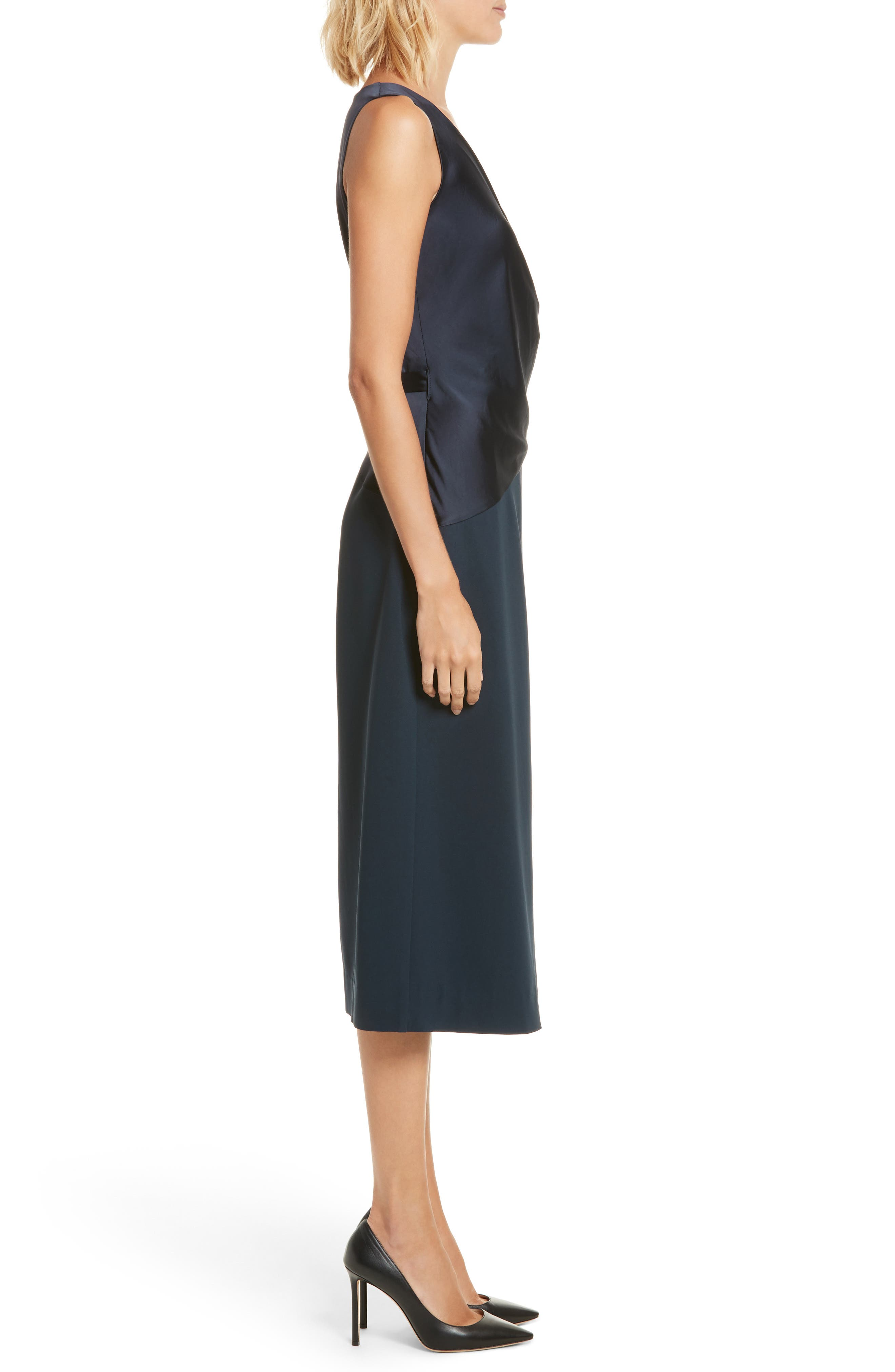 Midi Wrap Dress,                             Alternate thumbnail 3, color,                             Alexander Navy/ Black