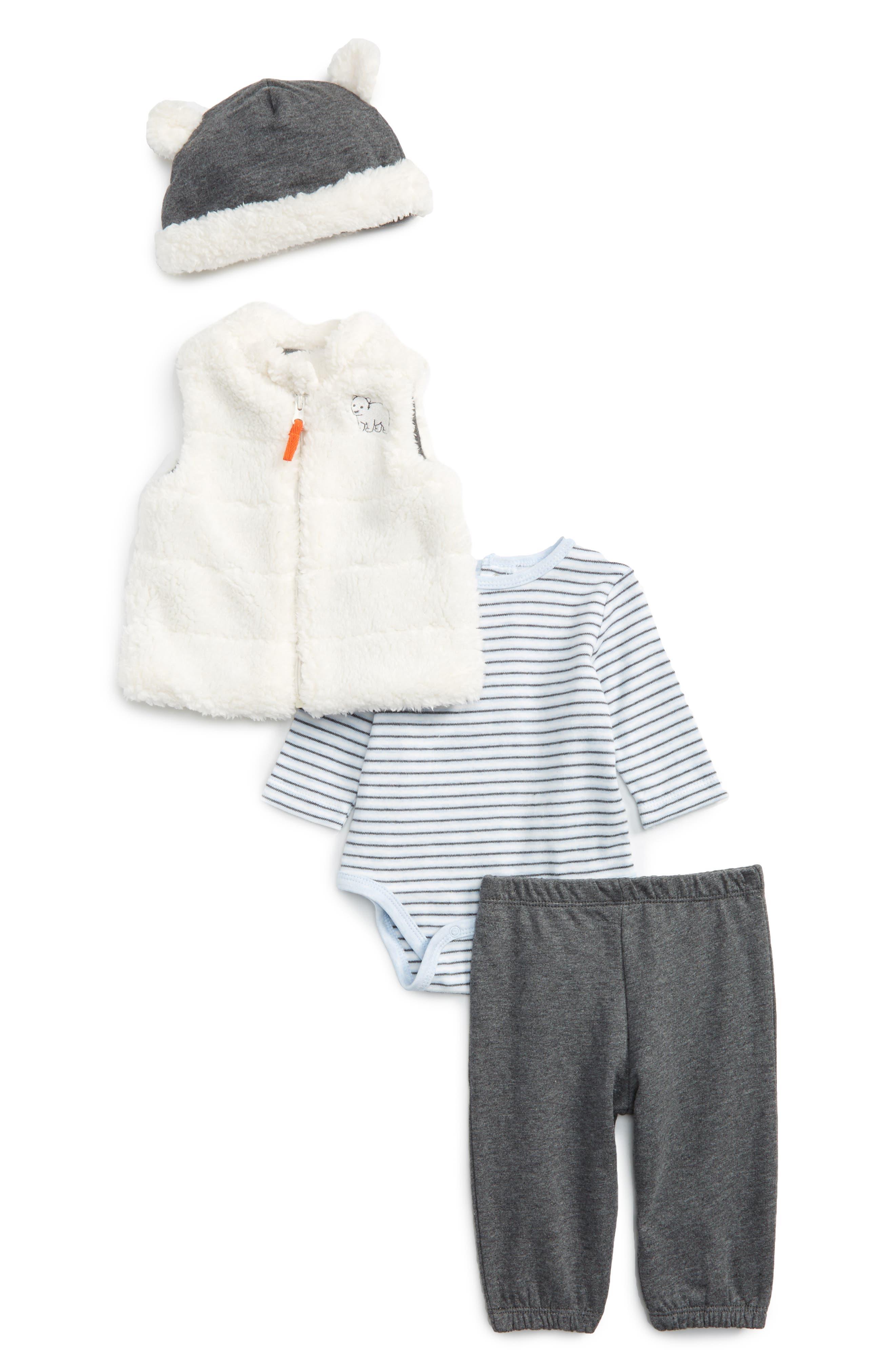 Bear Stripe Bodysuit, Pants, Vest & Beanie Set,                         Main,                         color, Grey Heather Multi