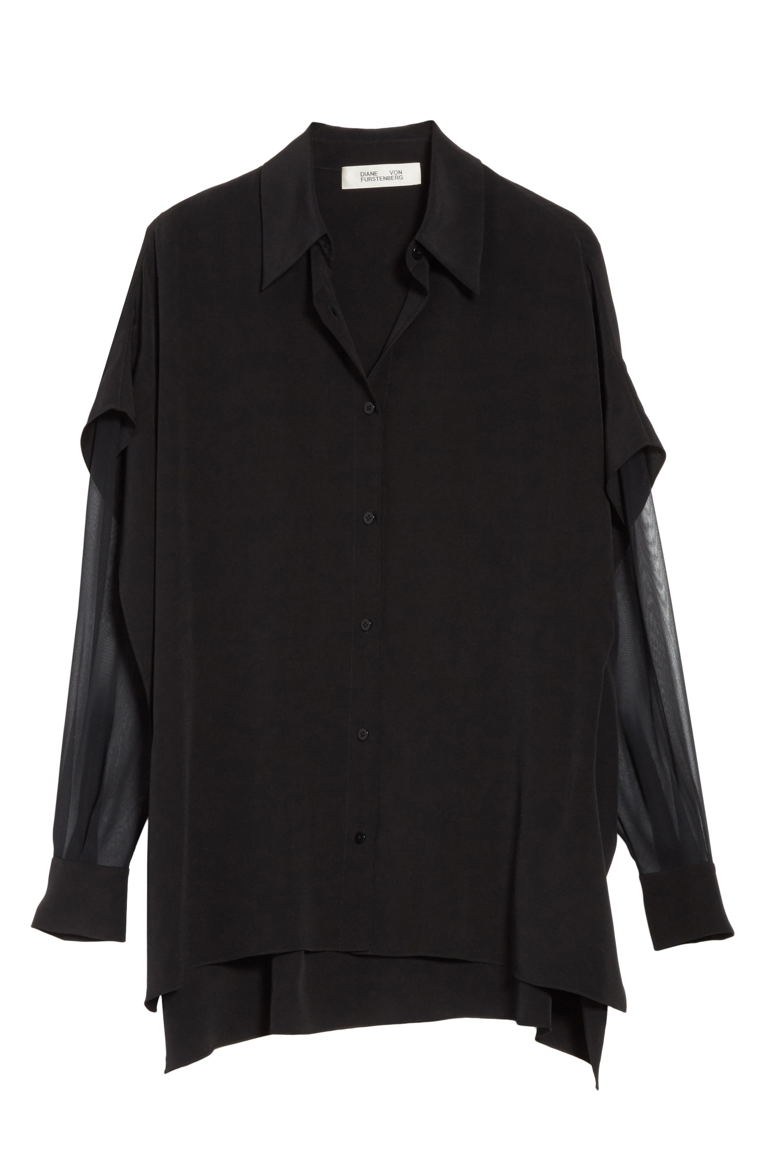 Button-Down Silk Shirt,                             Alternate thumbnail 6, color,                             Black