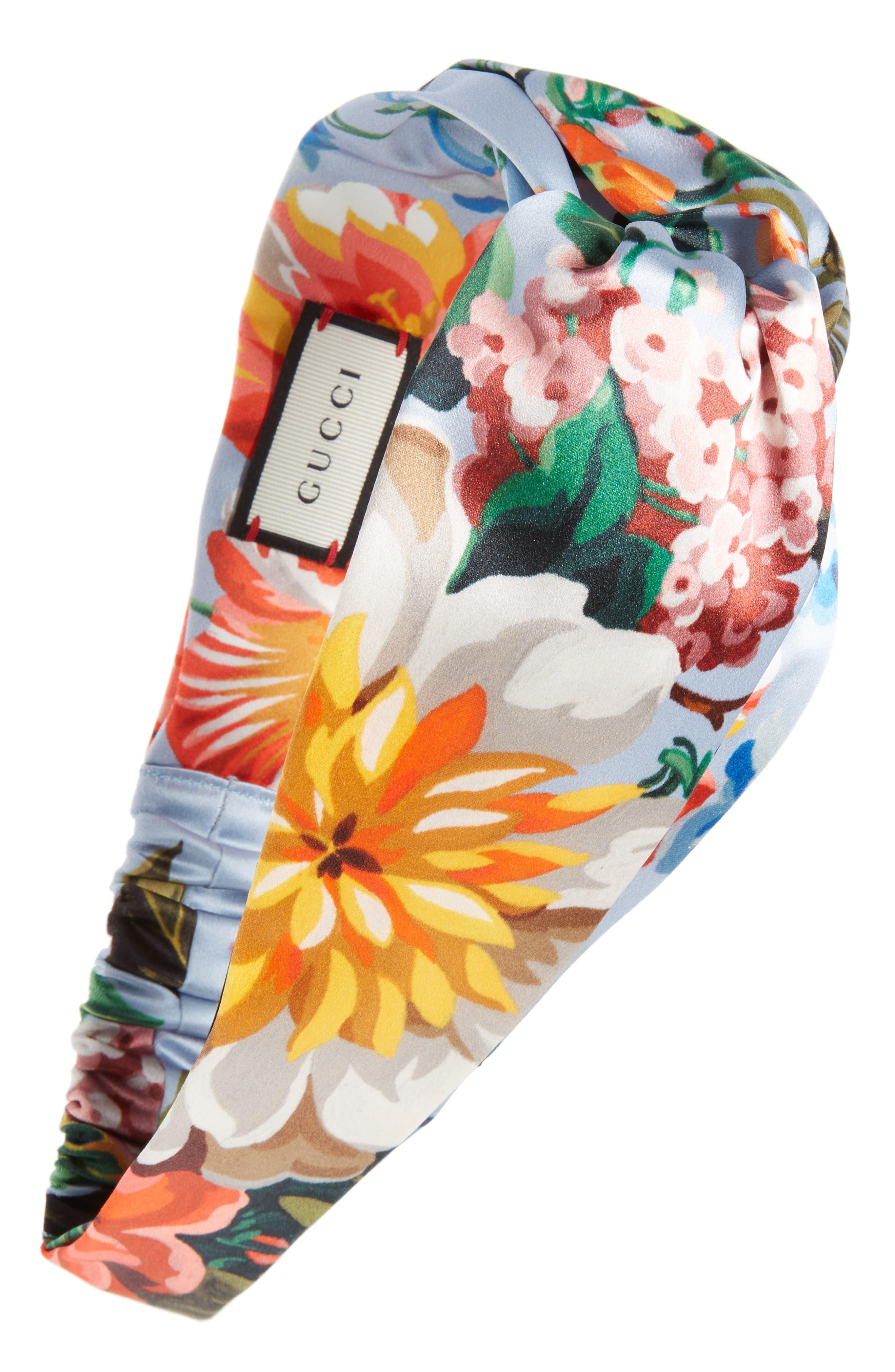 Josif Flower Print Silk Headband,                             Main thumbnail 1, color,                             Sky Blue/ Pink