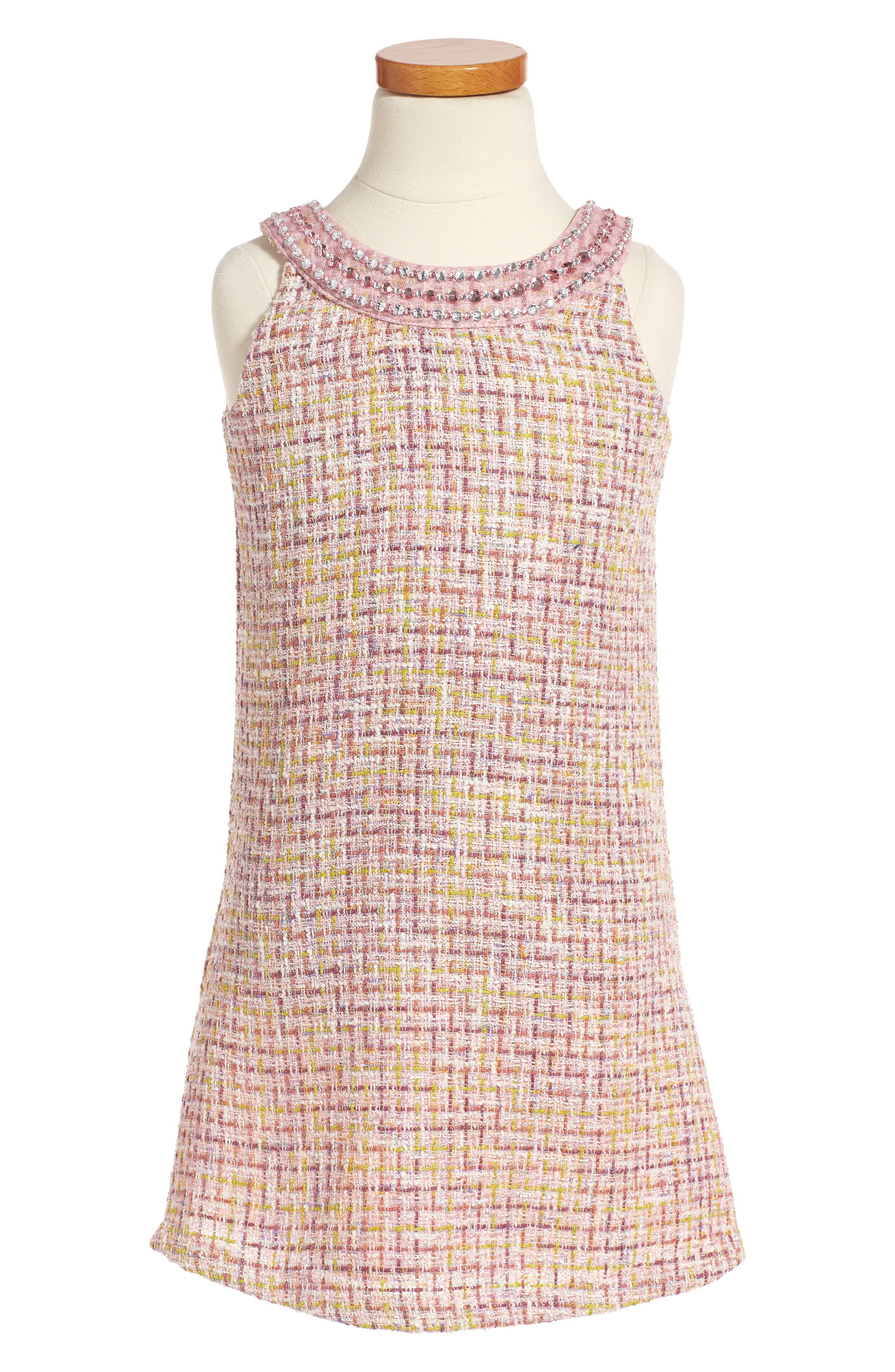 Ringer A-Line Dress,                         Main,                         color, Pink