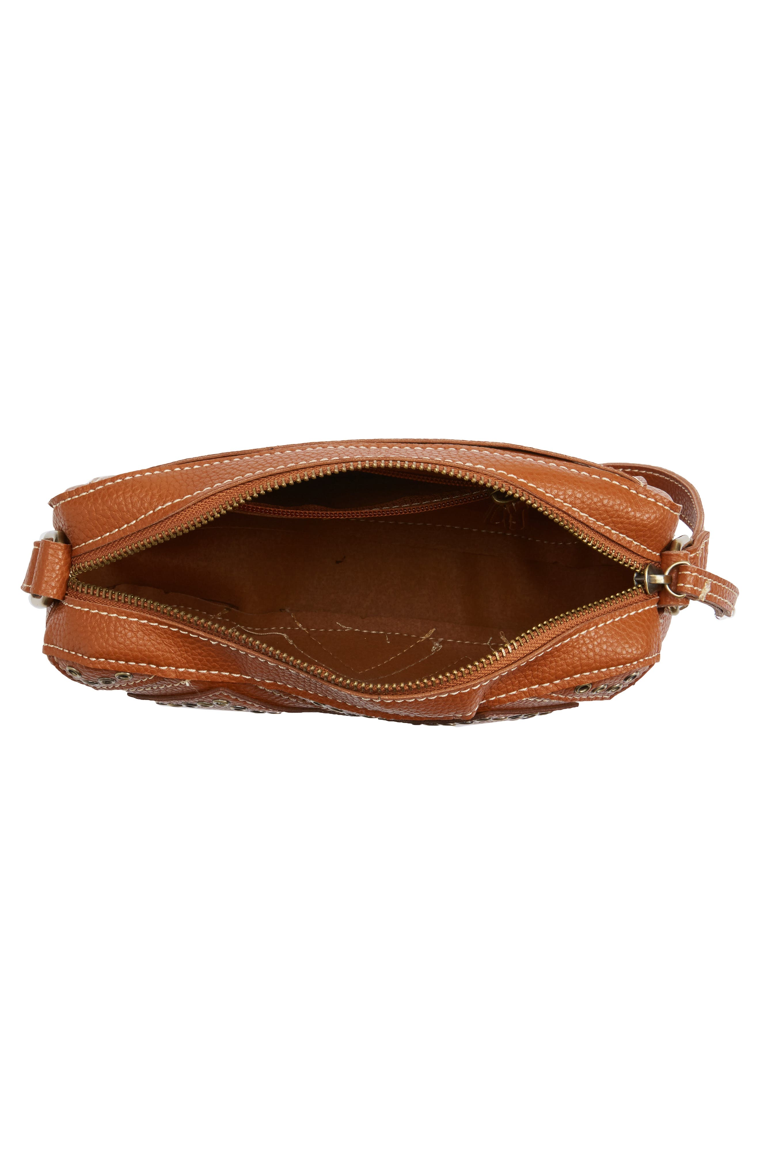 Skylar Faux Leather Crossbody Bag,                             Alternate thumbnail 4, color,                             Saddle
