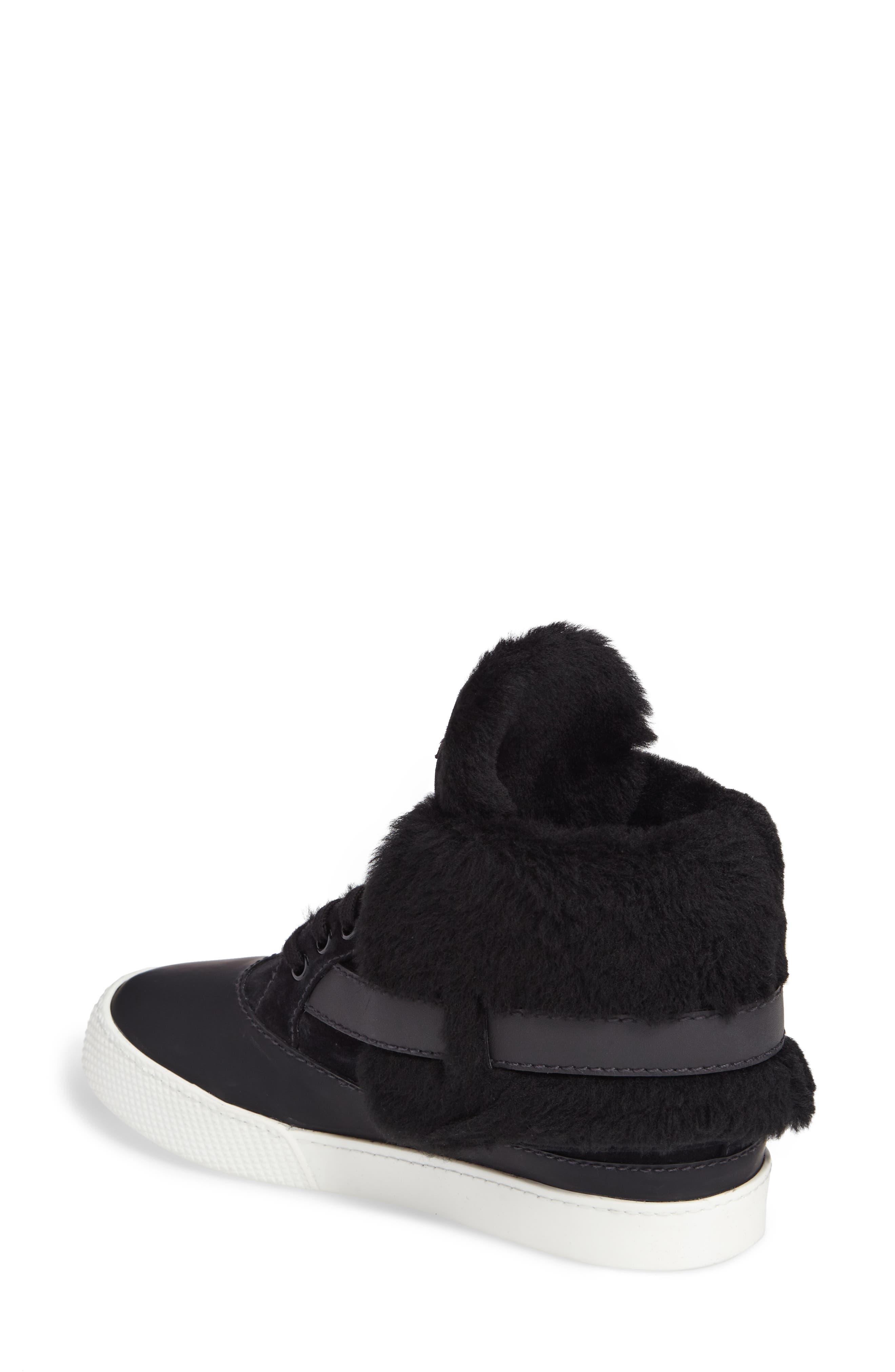 Genuine Shearling Cuffed Buckle Strap Sneaker,                             Alternate thumbnail 2, color,                             Black
