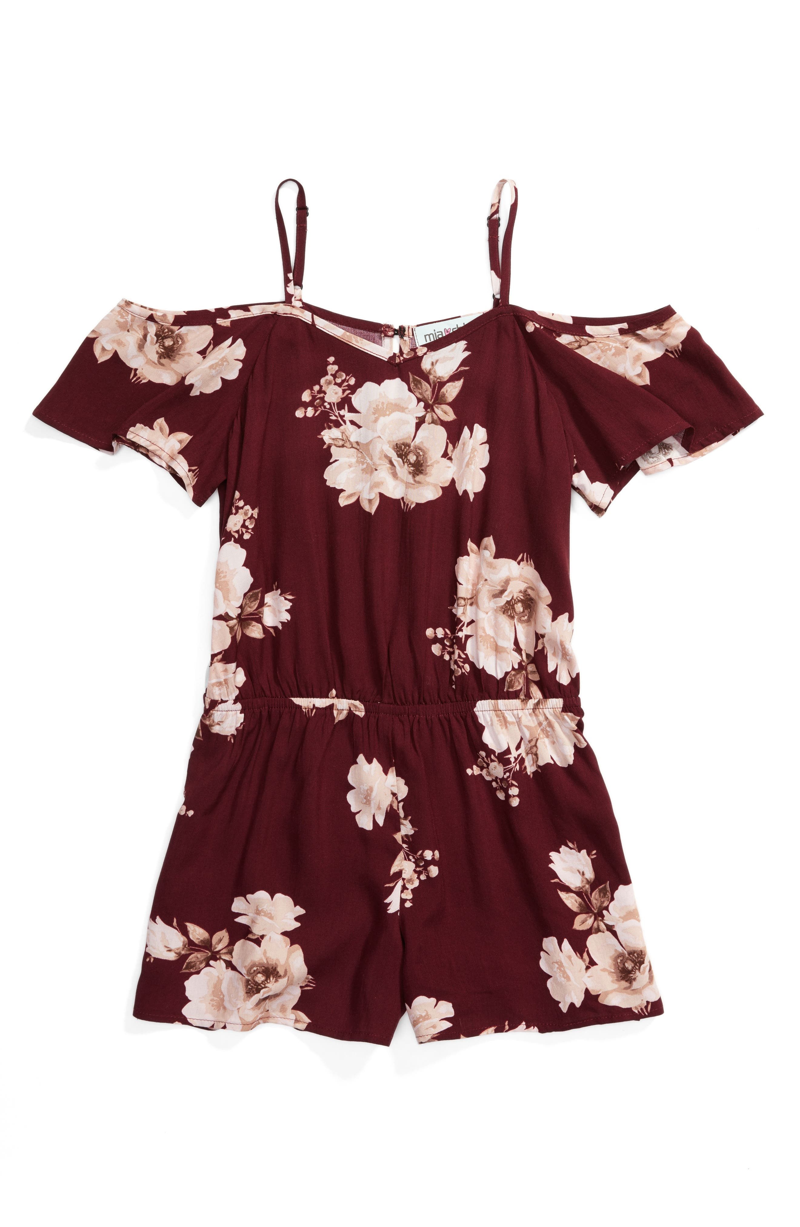 Alternate Image 1 Selected - Mia Chica Cold Shoulder Romper (Big Girls)