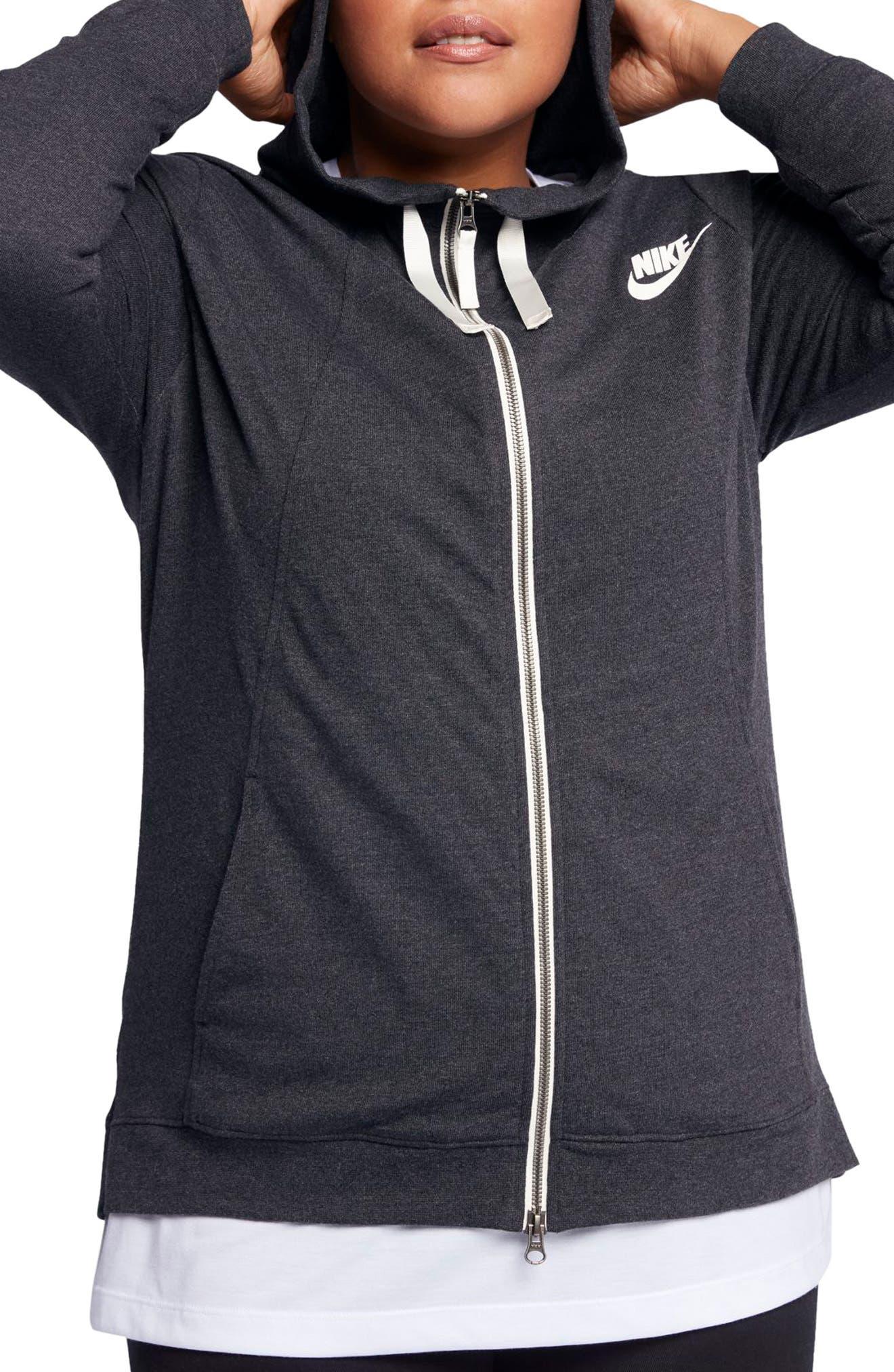 Sportswear Gym Classic Hoodie,                         Main,                         color, Black Heather/ Sail
