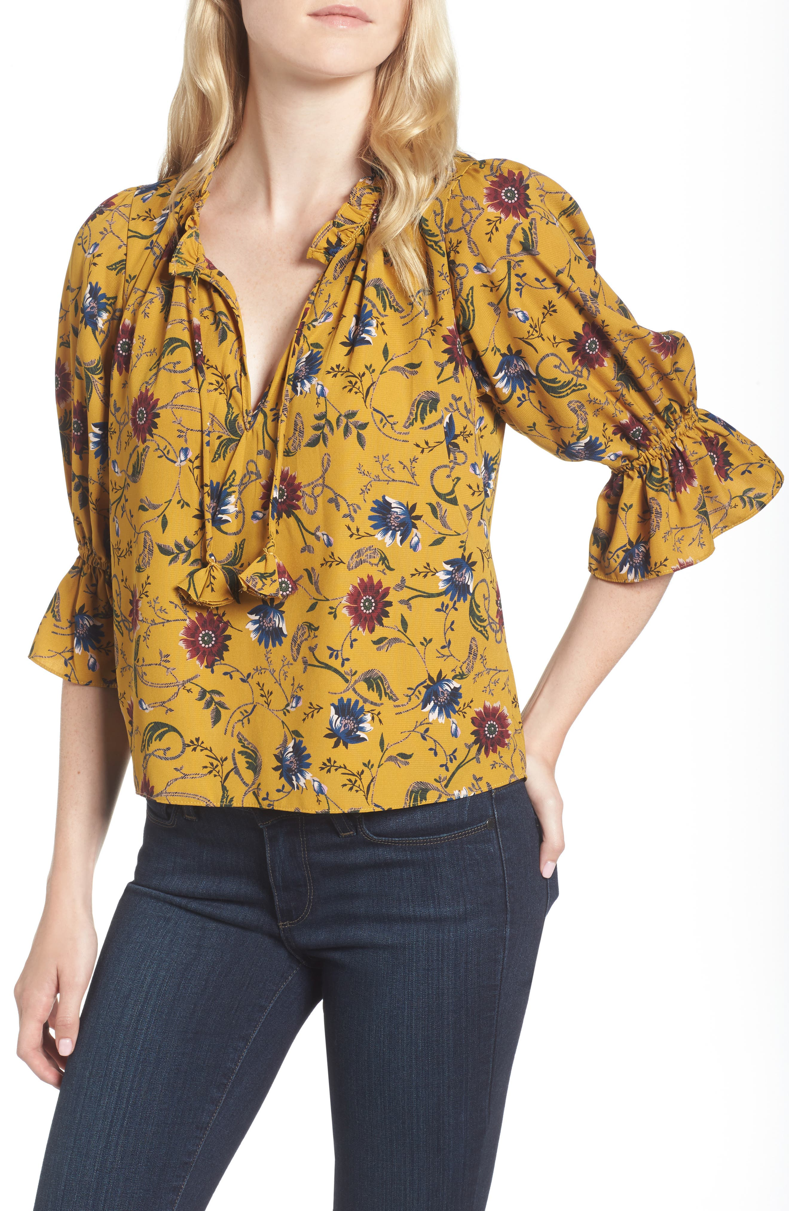Danee Floral Top,                             Main thumbnail 1, color,                             Marigold/ Ivory