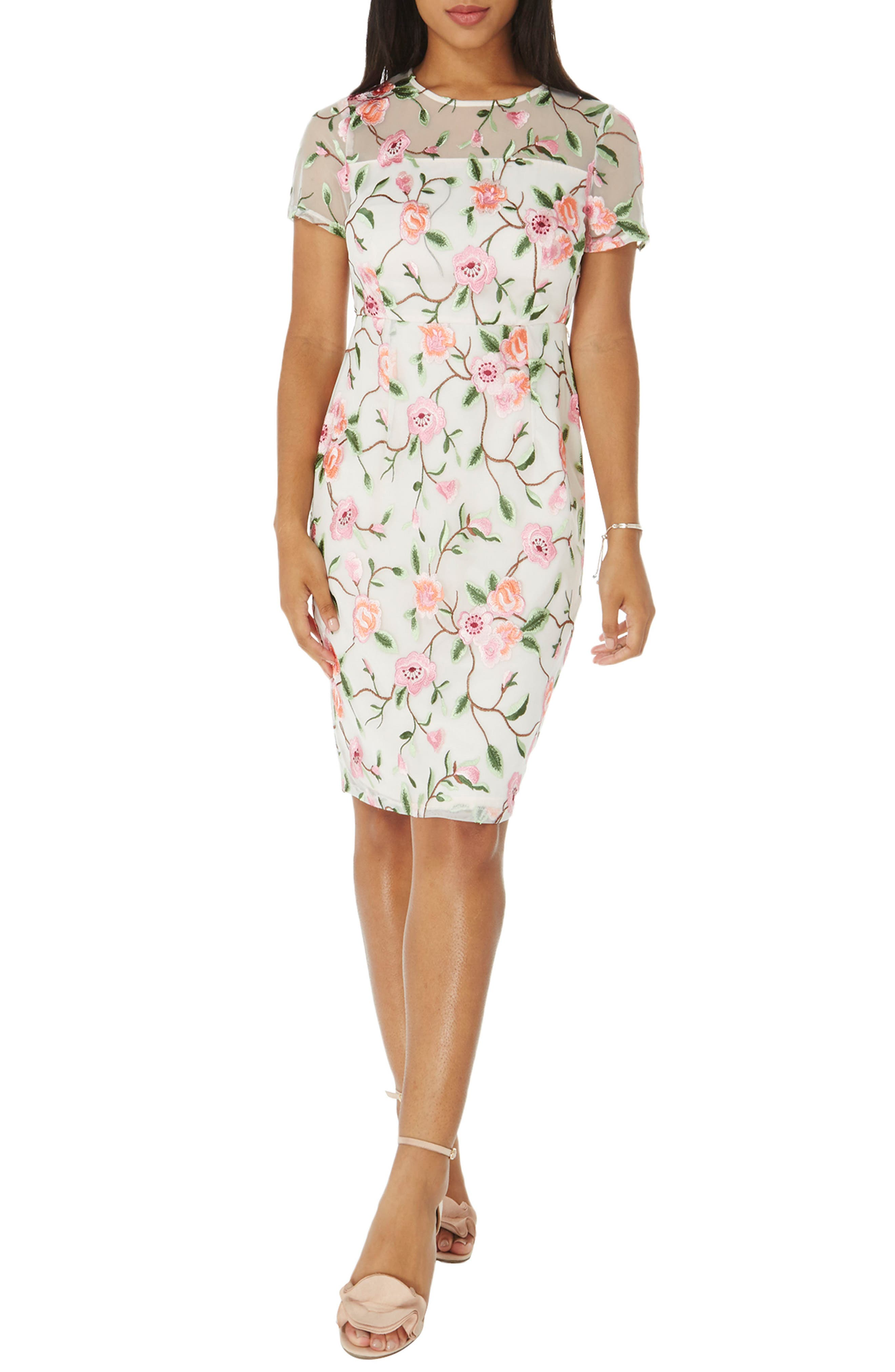 Floral Embroidered Sheath Dress,                         Main,                         color, White