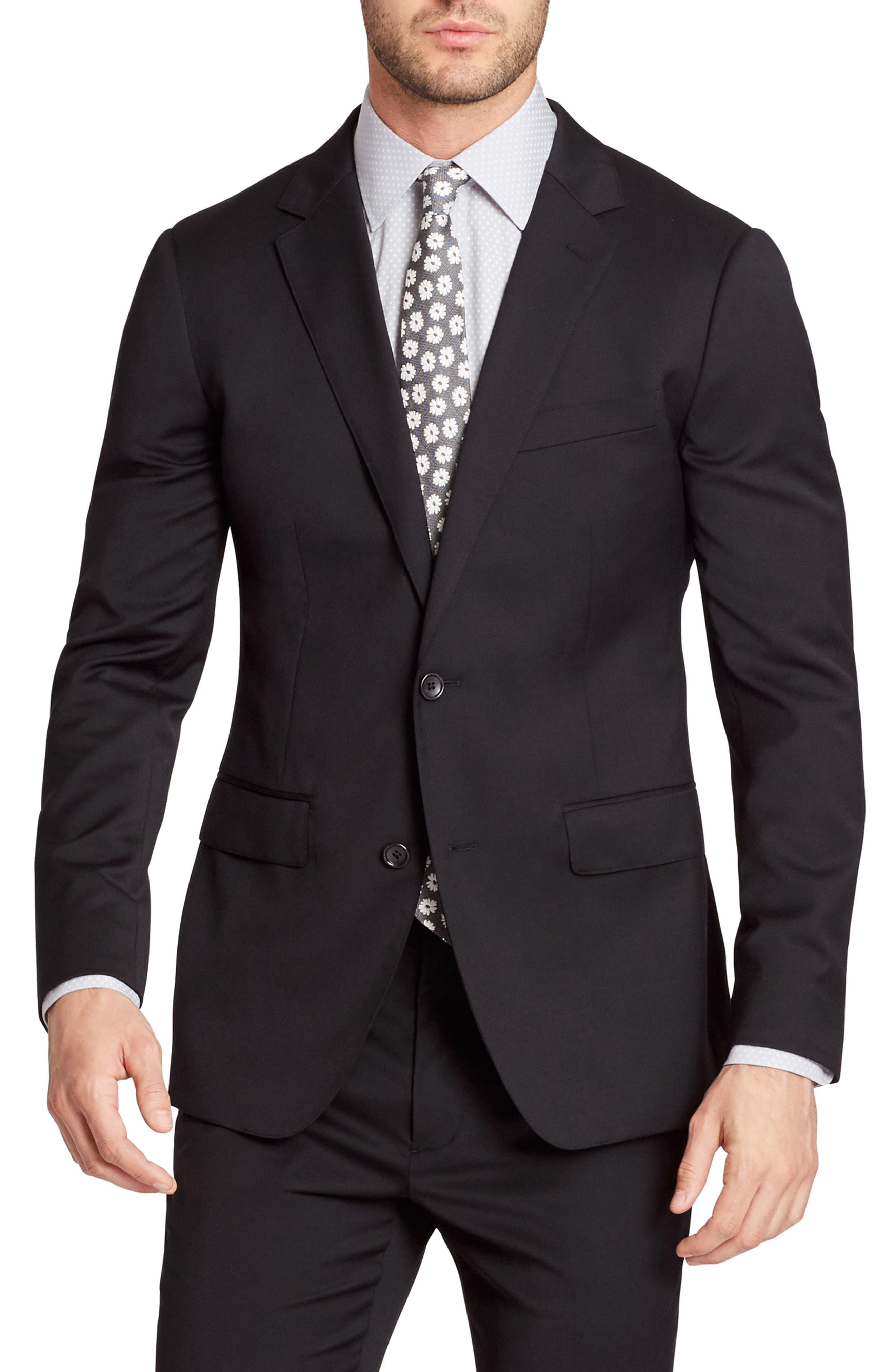 Jetsetter Trim Fit Stretch Wool Suit Jacket,                             Main thumbnail 1, color,                             Black