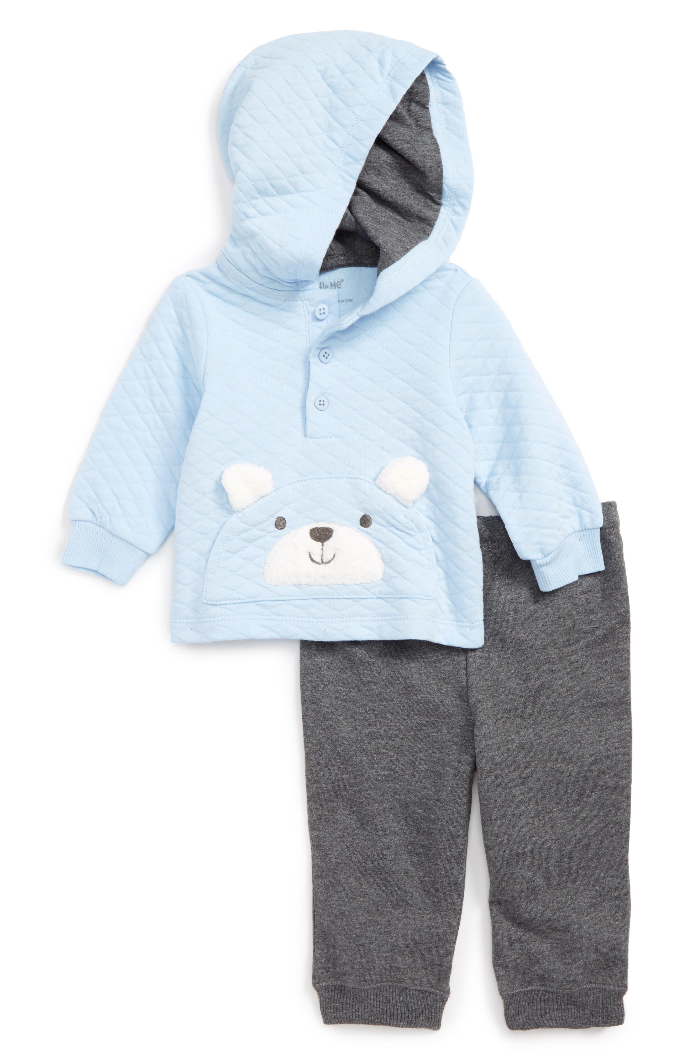 Little Me Teddy Bear Hoodie & Pants Set (Baby Boys)