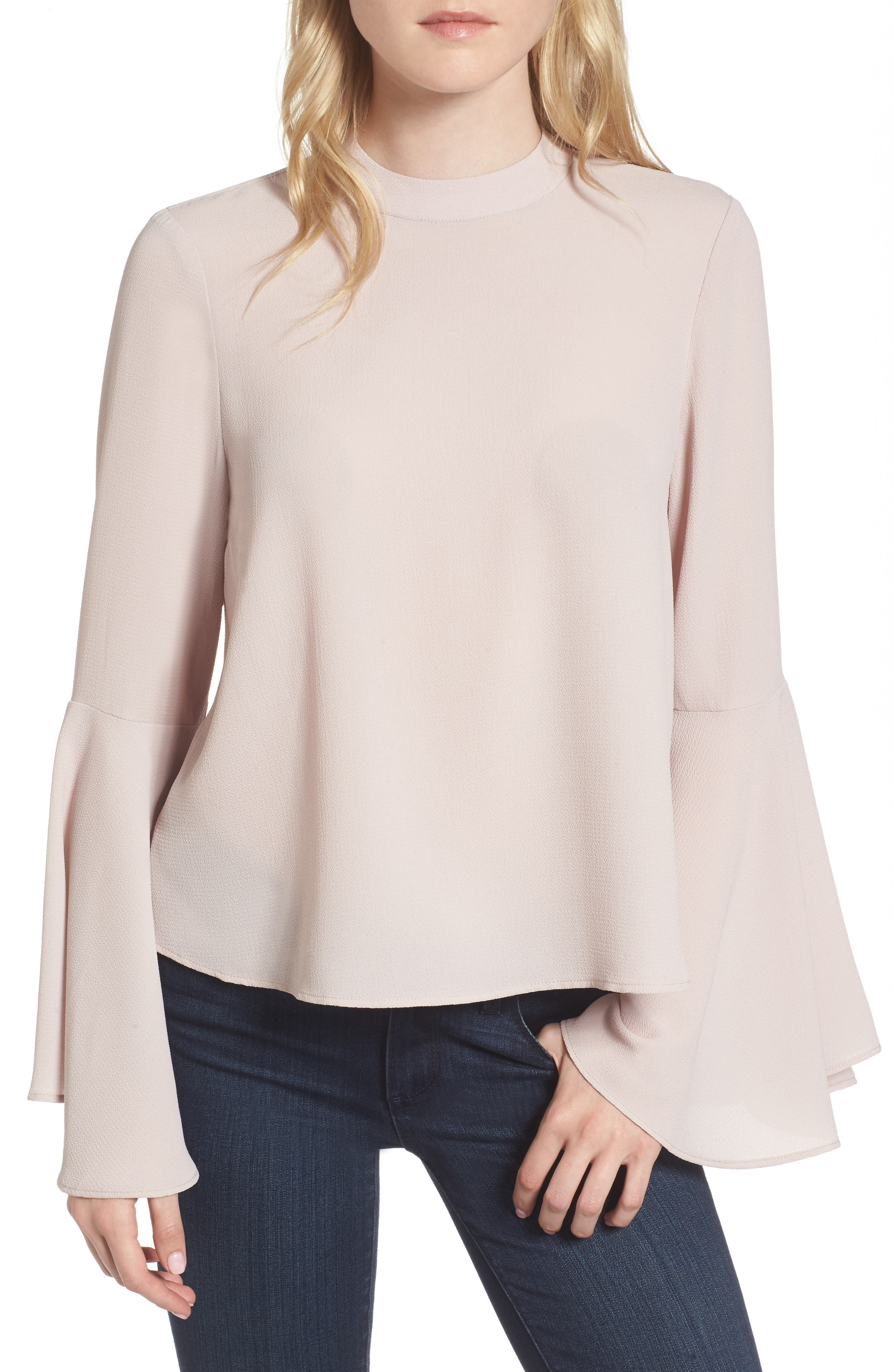 Bell Sleeve Top,                         Main,                         color, Pink Hush