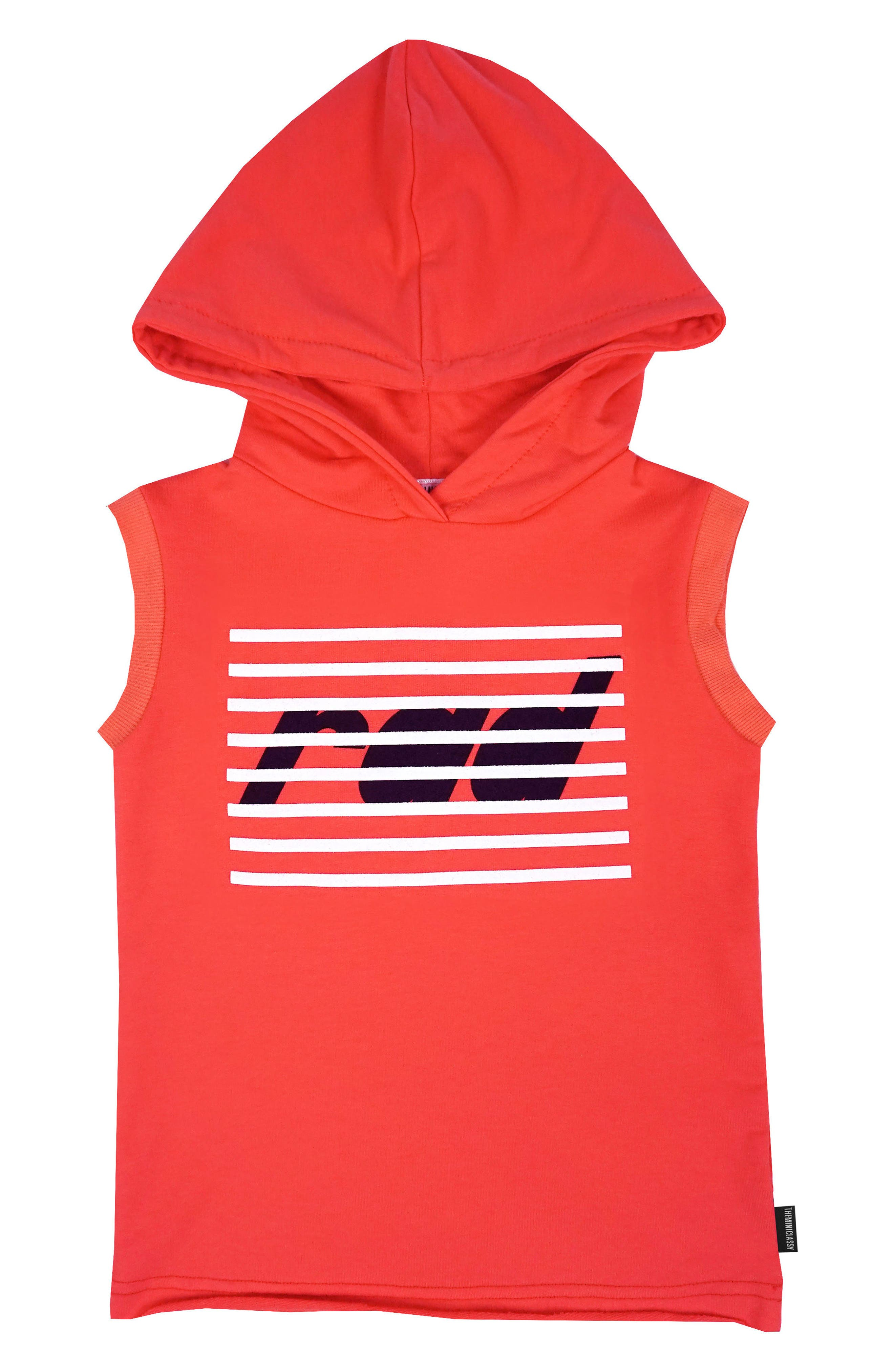 Graphic Sleeveless Hoodie,                         Main,                         color, Coral