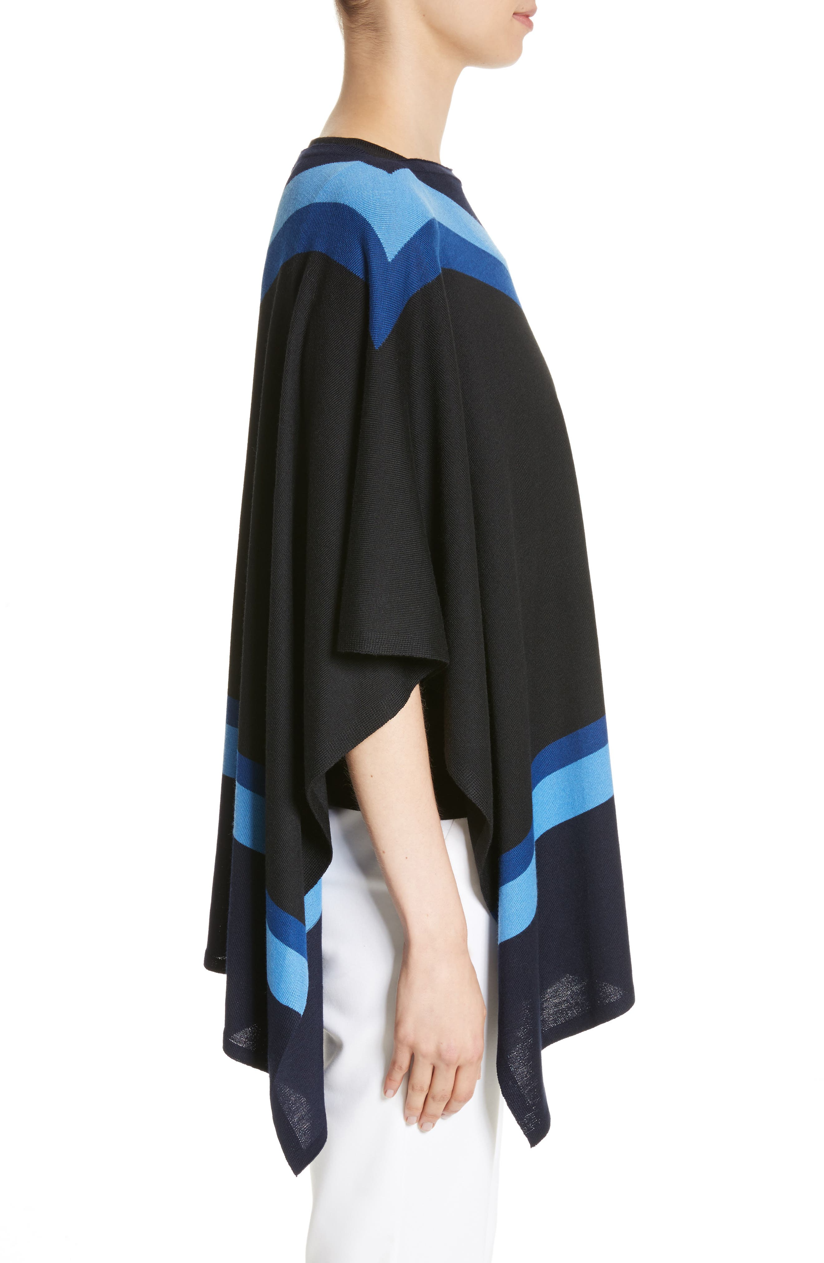 Intarsia Knit Jersey Poncho,                             Alternate thumbnail 3, color,                             Navy Multi