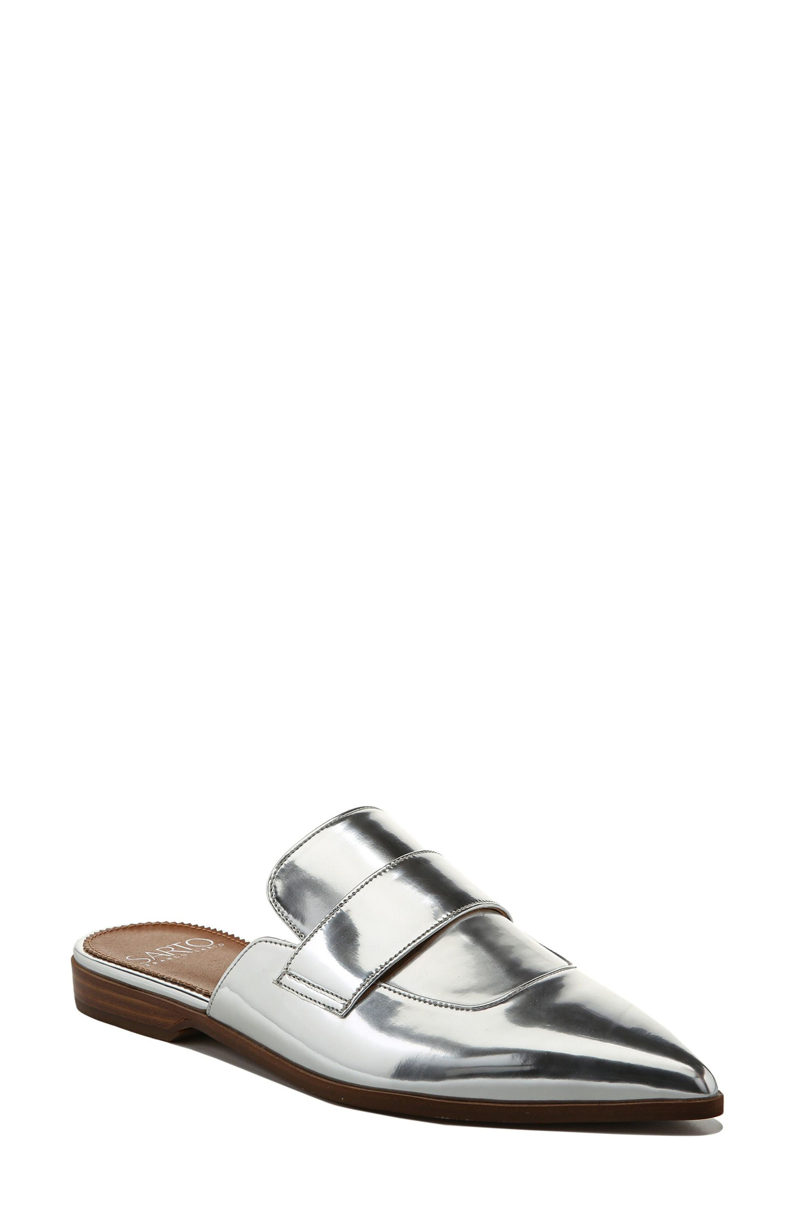 Palmer Mule,                             Main thumbnail 1, color,                             Silver Leather