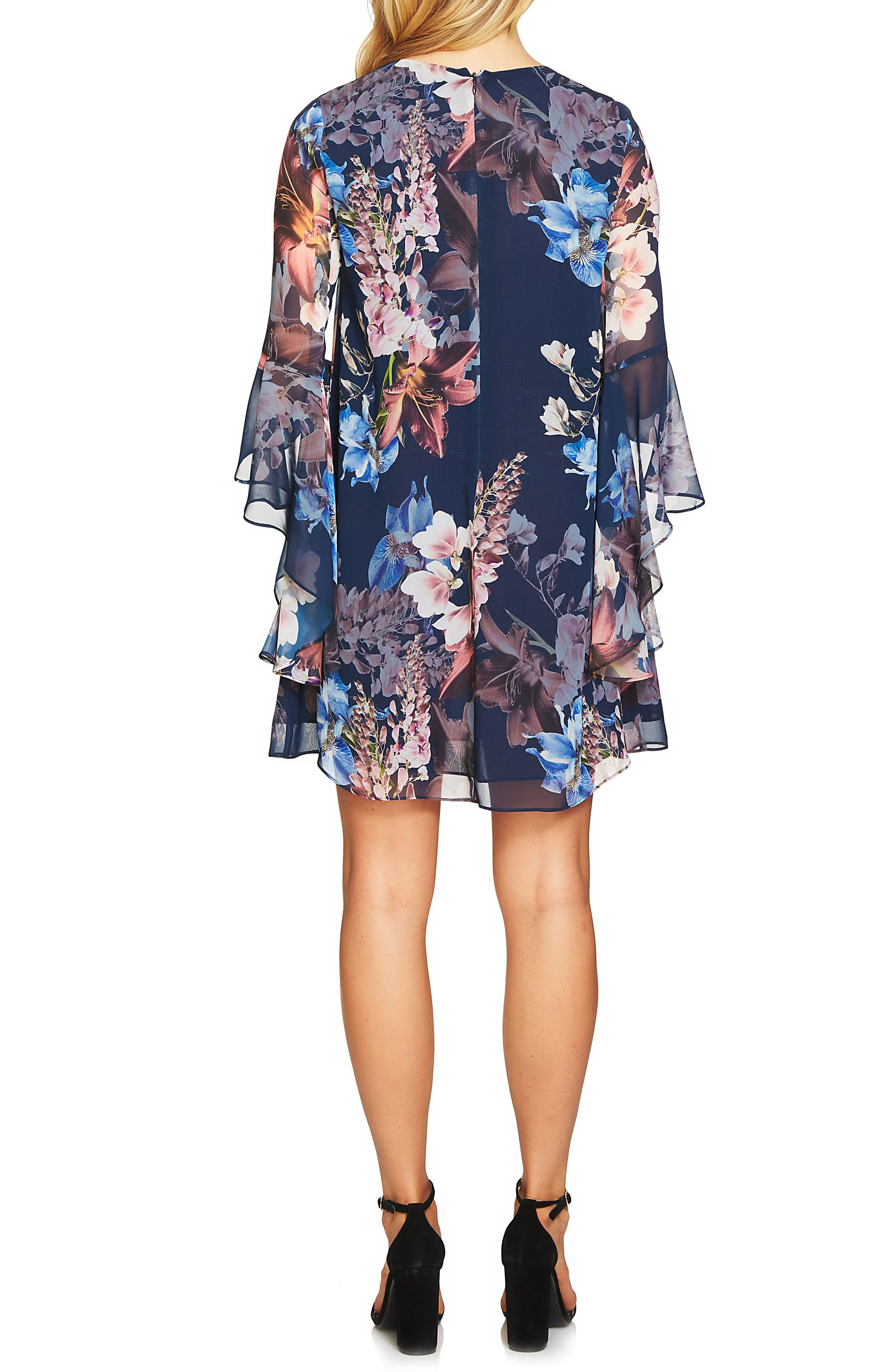 Ashley Bell Sleeve Shift Dress,                             Alternate thumbnail 2, color,                             Midnight Bloom