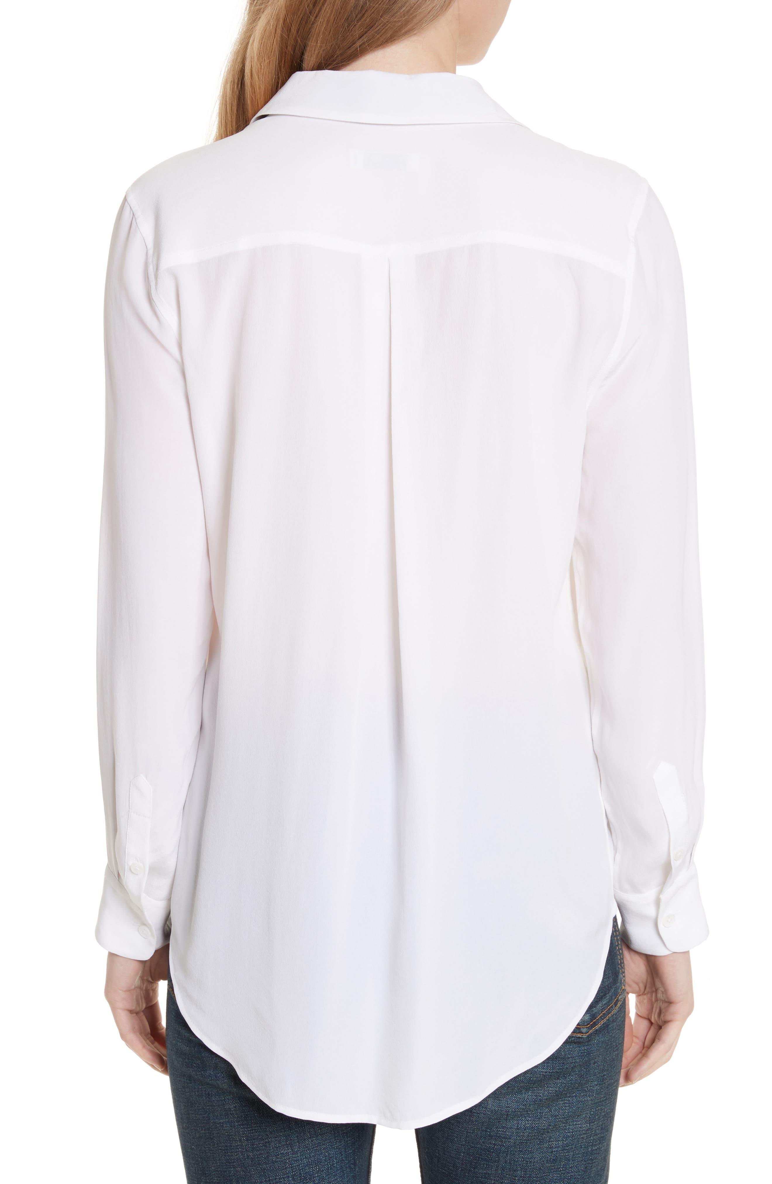 Essential Bow Tie Silk Shirt,                             Alternate thumbnail 2, color,                             Bright White