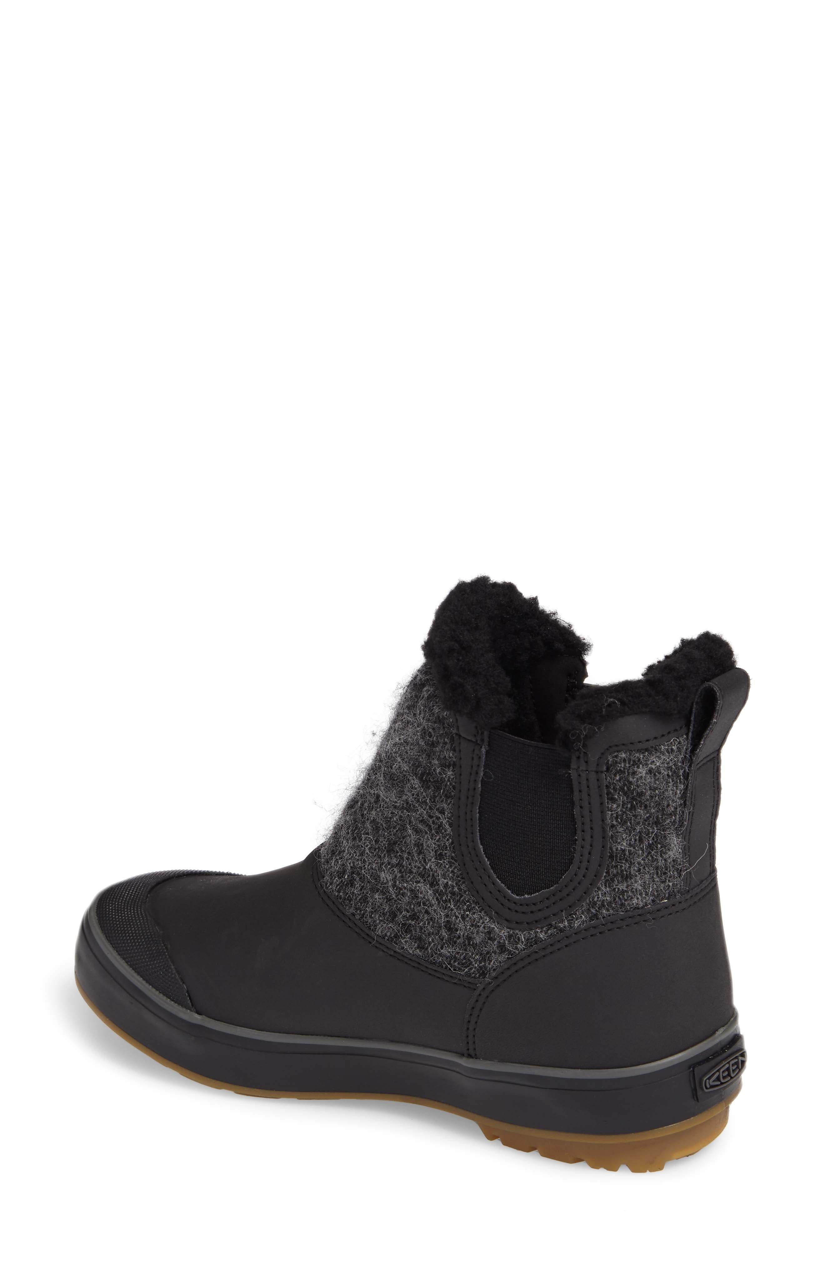 Elsa Chelsea Waterproof Faux Fur Lined Boot,                             Alternate thumbnail 2, color,                             Black Wool Leather
