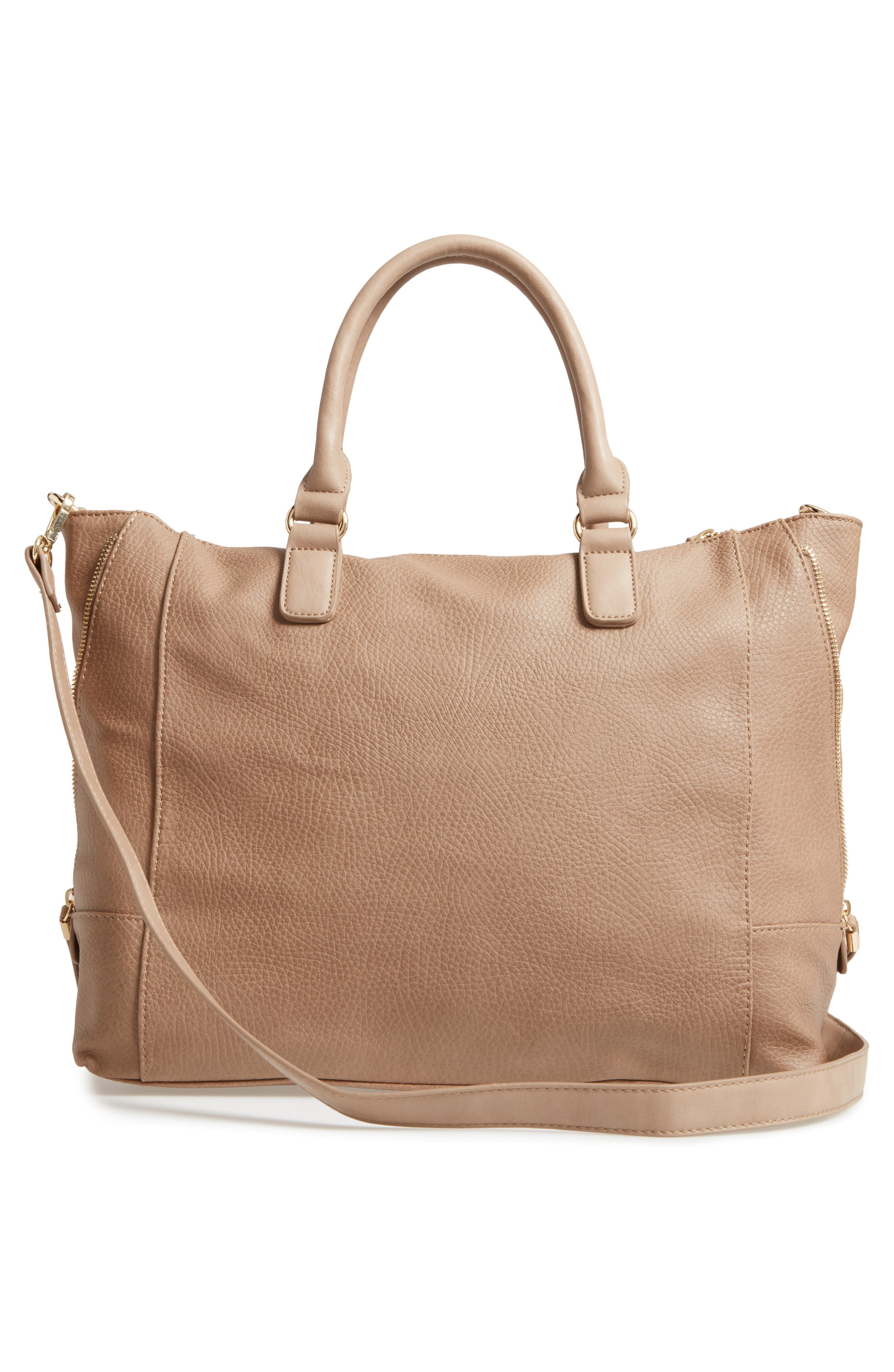 'Susan' Winged Faux Leather Tote,                             Alternate thumbnail 3, color,                             Mushroom