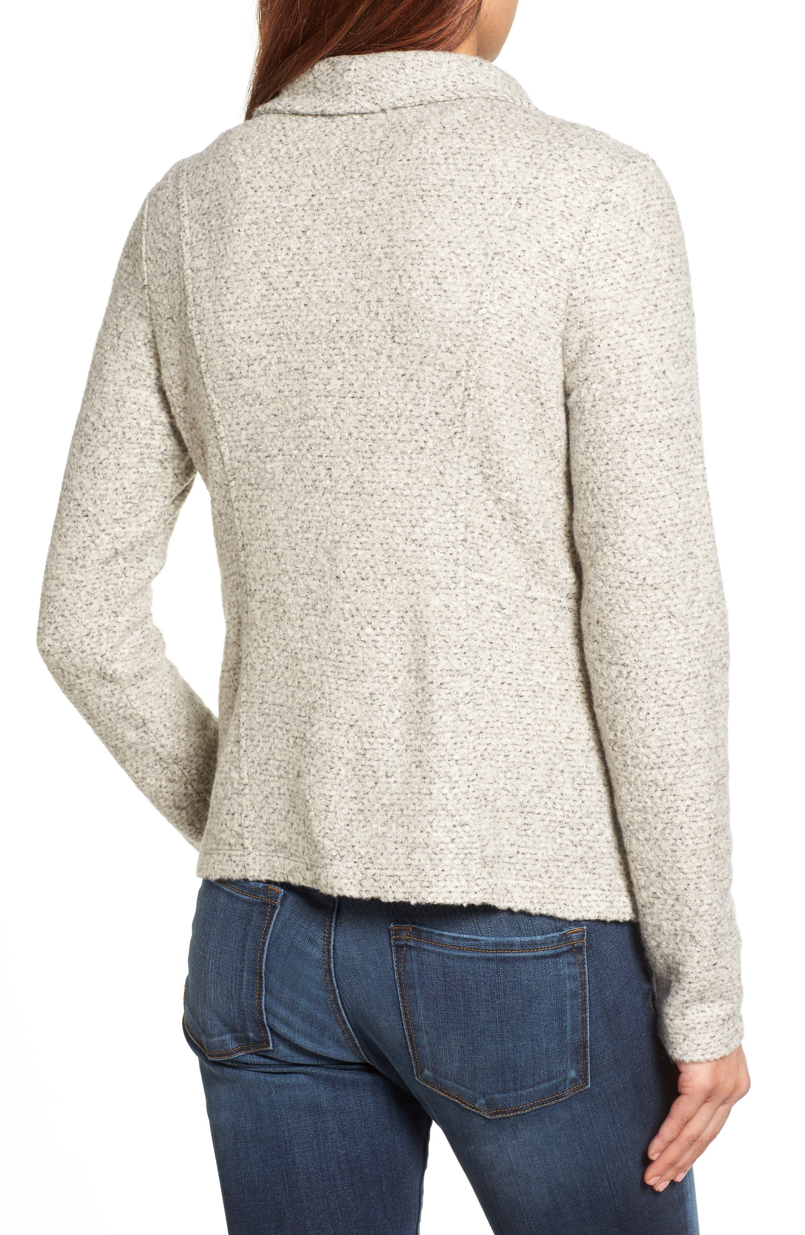 Alternate Image 2  - Halogen® Knit Moto Jacket (Regular & Petite)