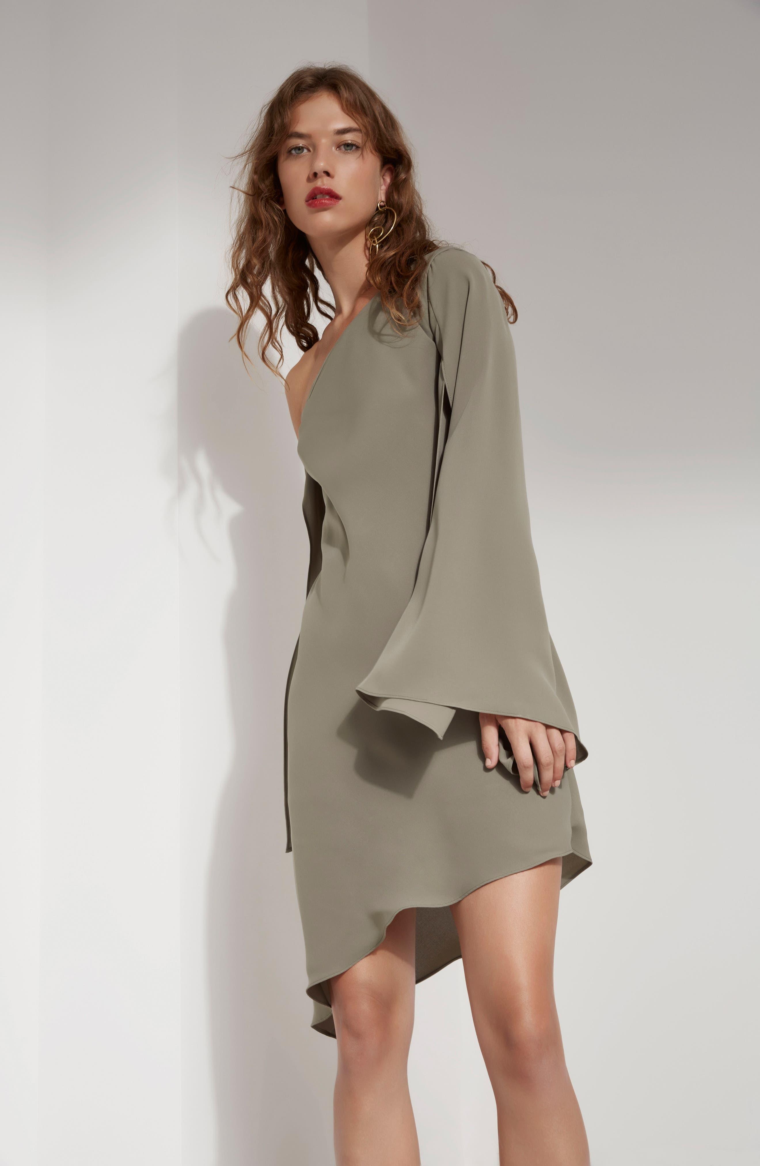 Beyond Me One-Shoulder Dress,                             Alternate thumbnail 2, color,                             Khaki
