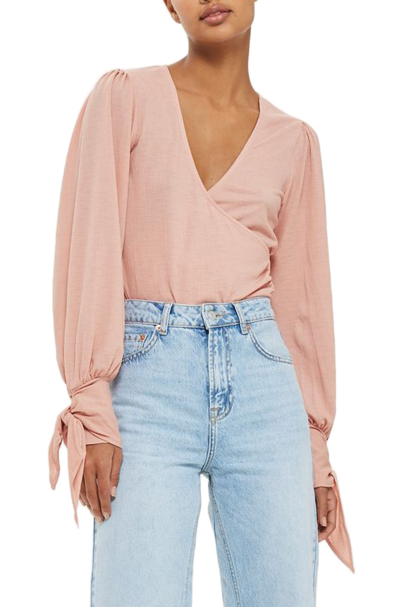Wrap Front Tie Sleeve Top,                         Main,                         color, Pink