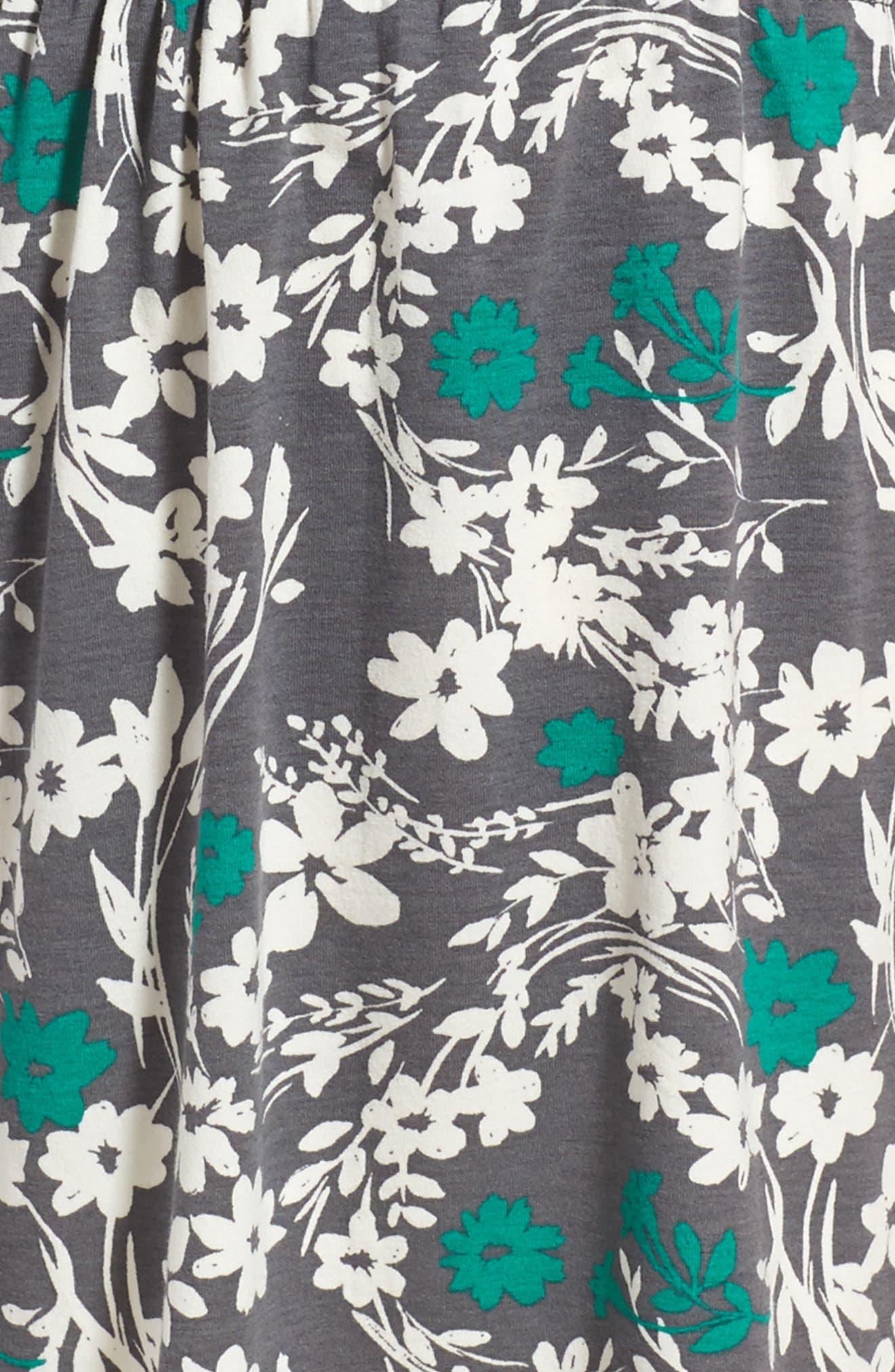 Cold Shoulder Print Dress,                             Alternate thumbnail 4, color,                             Grey Castlerock Shadow Floral