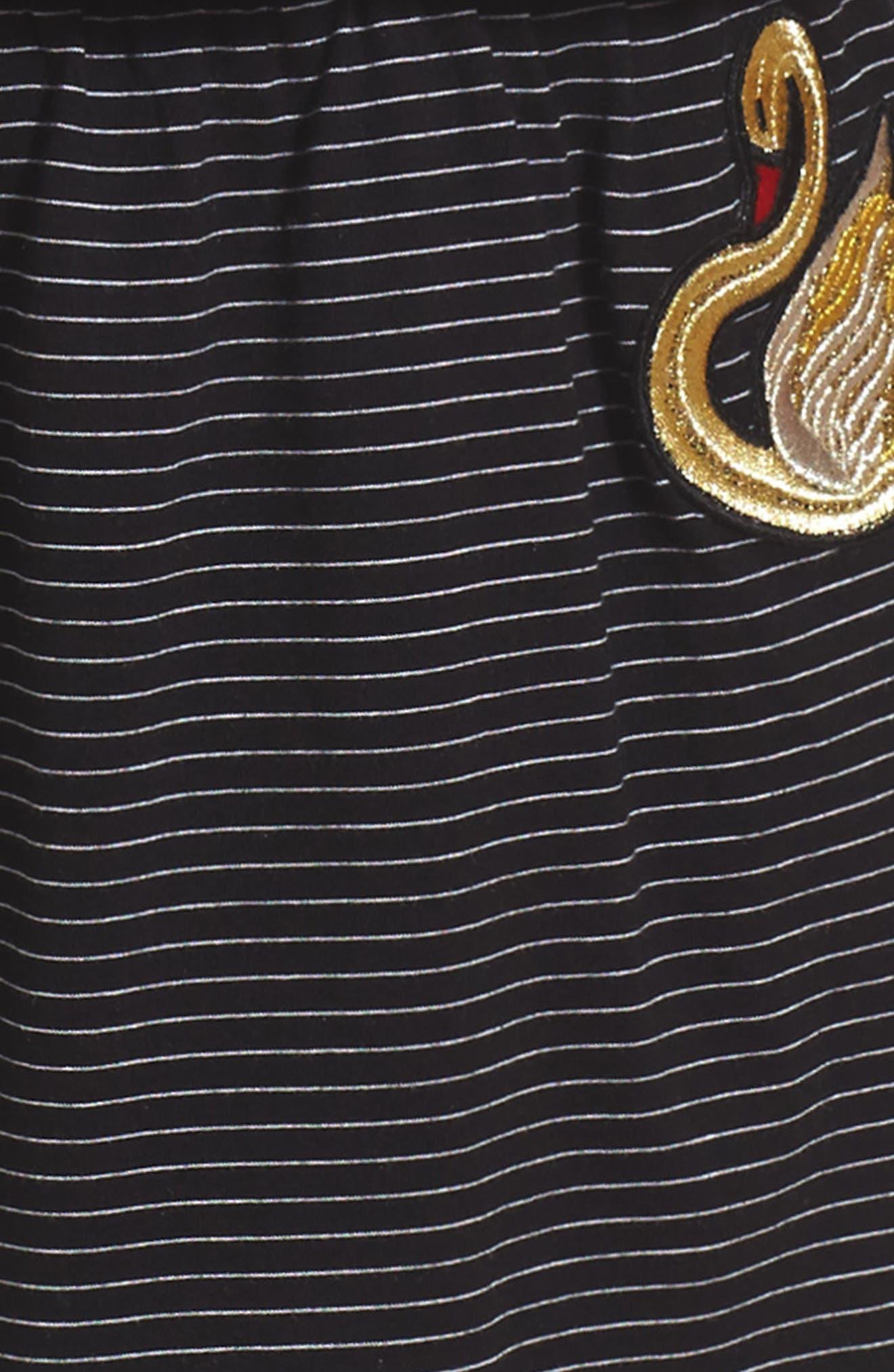 Swan Embroidered Blouson Dress,                             Alternate thumbnail 3, color,                             Black