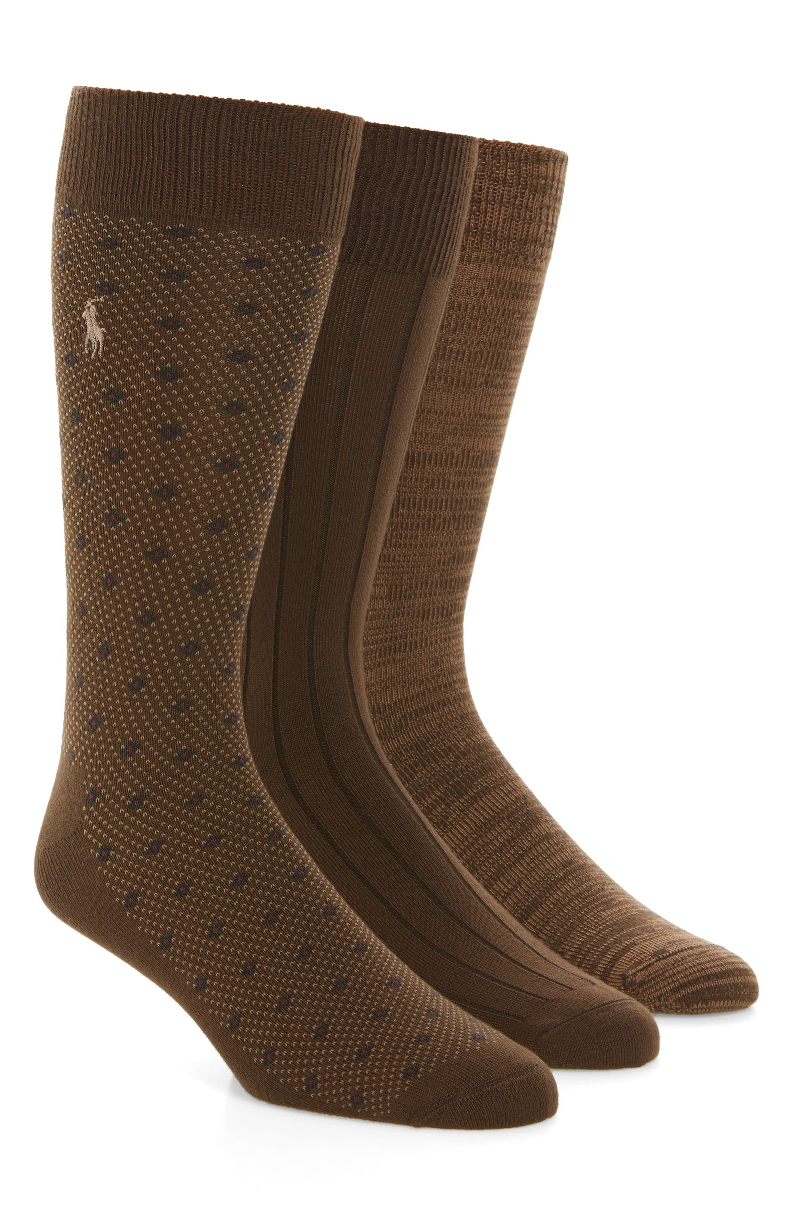 Supersoft Diamond Dot Assorted 3-Pack Socks,                         Main,                         color, Tobacco