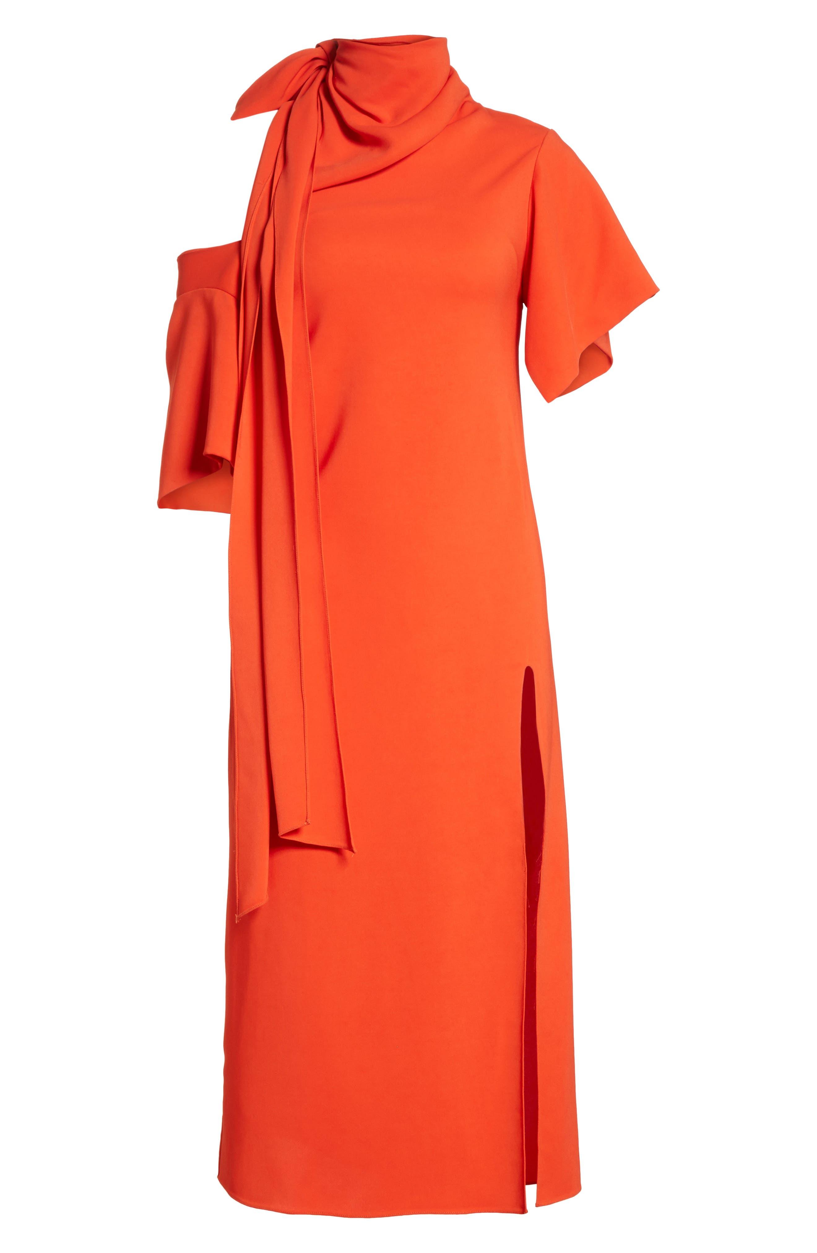 Bow Back Asymmetrical Dress,                             Alternate thumbnail 7, color,                             Red
