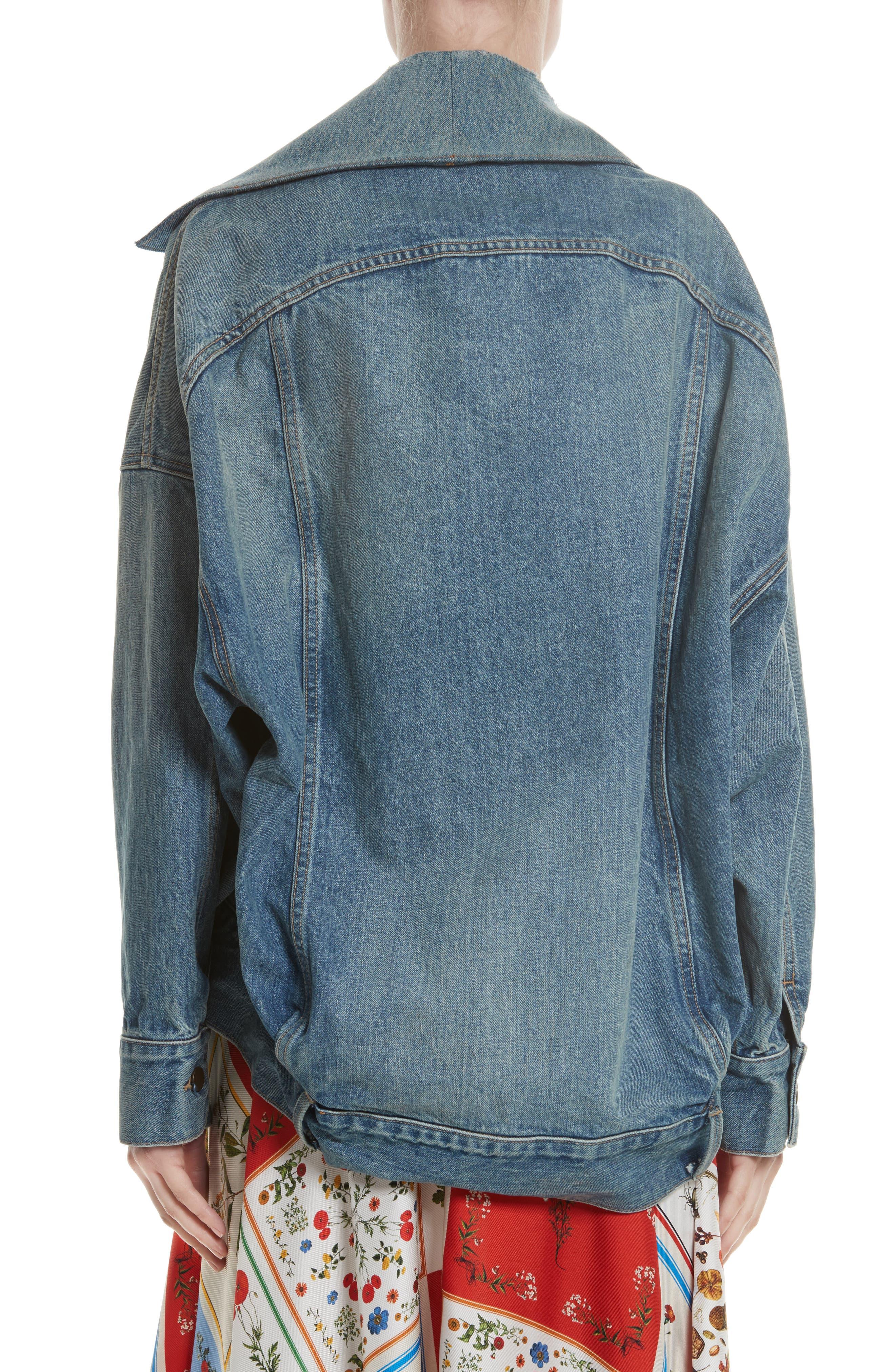 Cocoon Denim Jacket,                             Alternate thumbnail 3, color,                             Blue