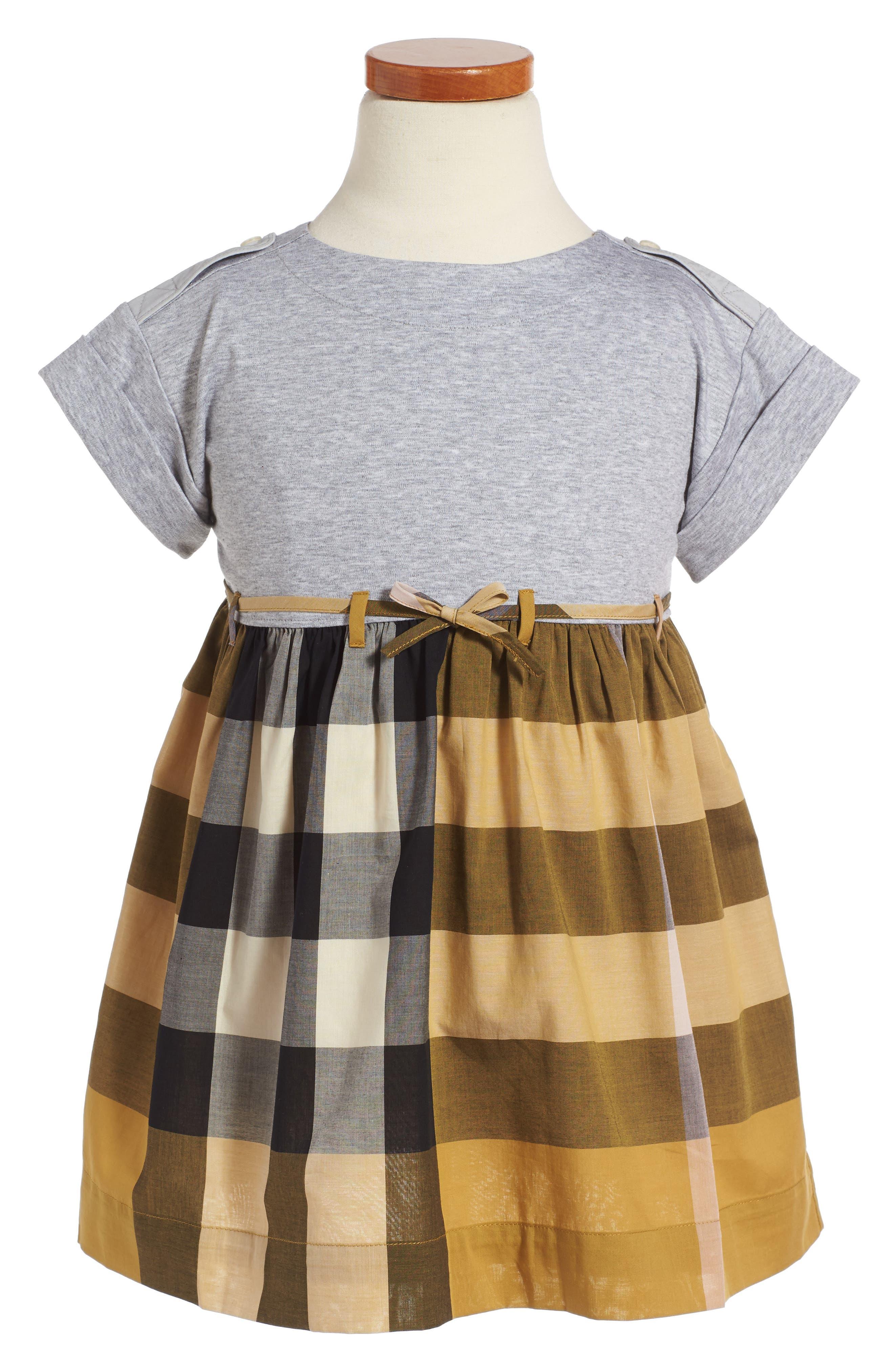 Rhonda Check Dress,                         Main,                         color, Yellow Quartz