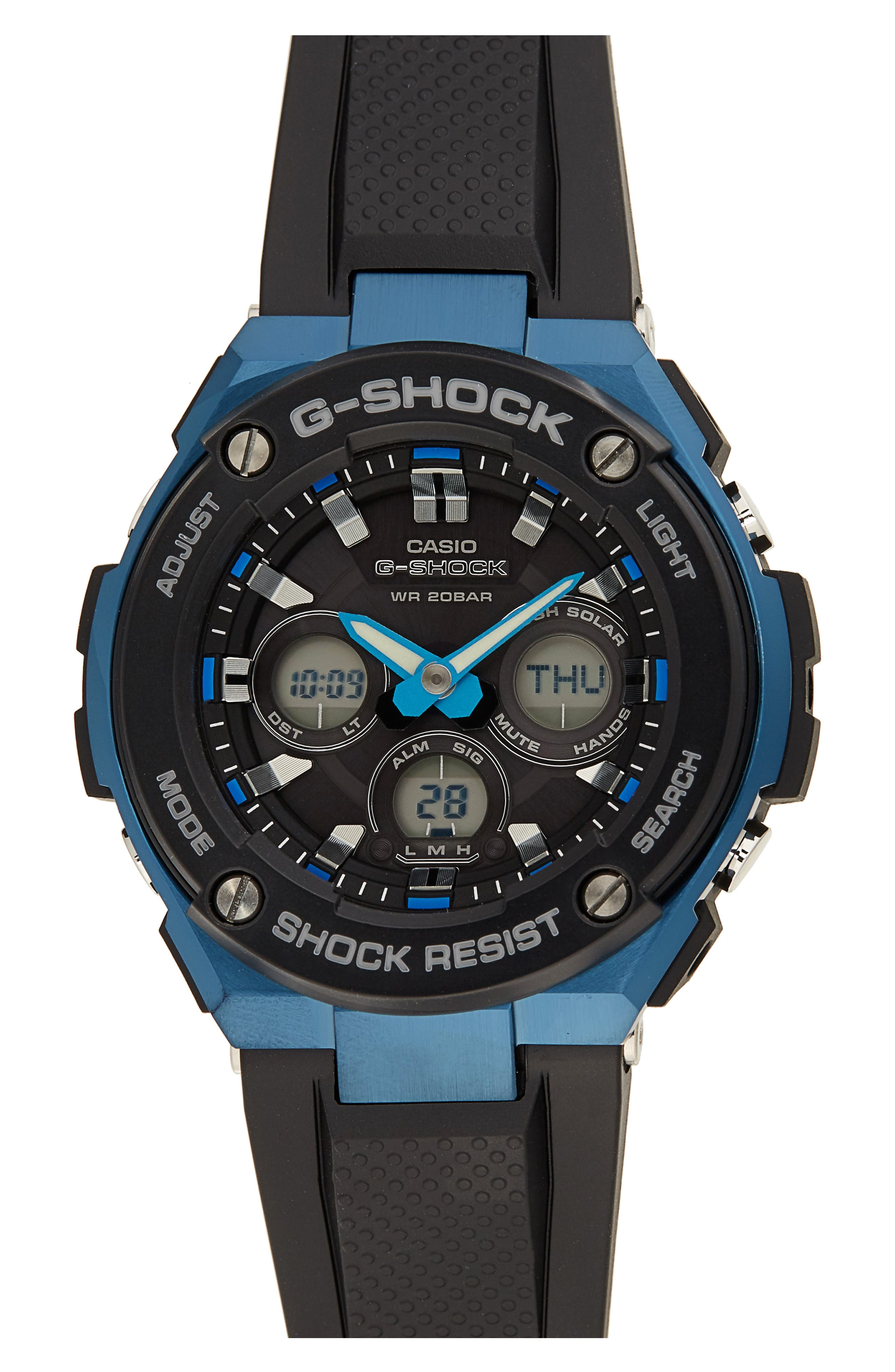 Steel Ana-Digi Watch, 49mm,                         Main,                         color, Black/ Blue