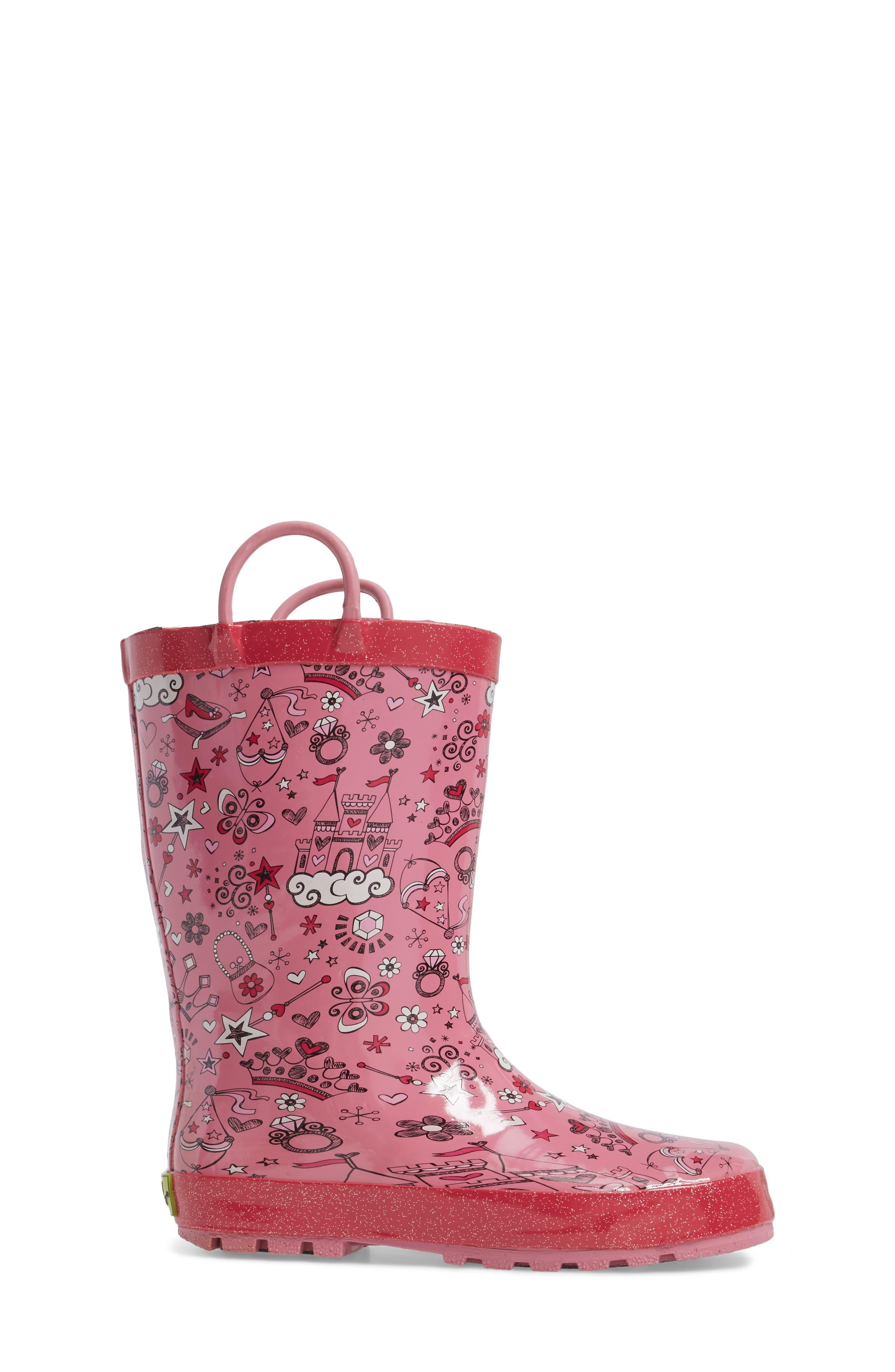 Fairy Tale Rain Boot,                             Alternate thumbnail 3, color,                             Pink