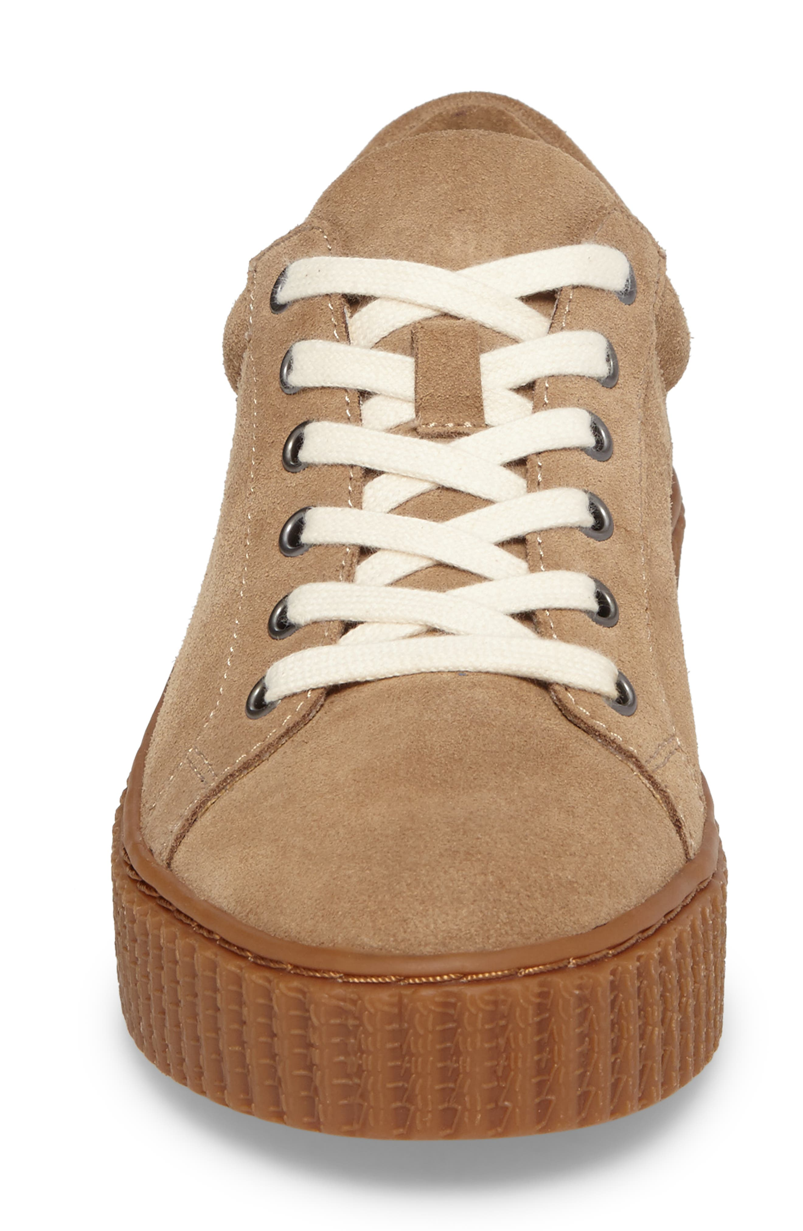 Ruth Platform Sneaker,                             Alternate thumbnail 4, color,                             Light Taupe Suede