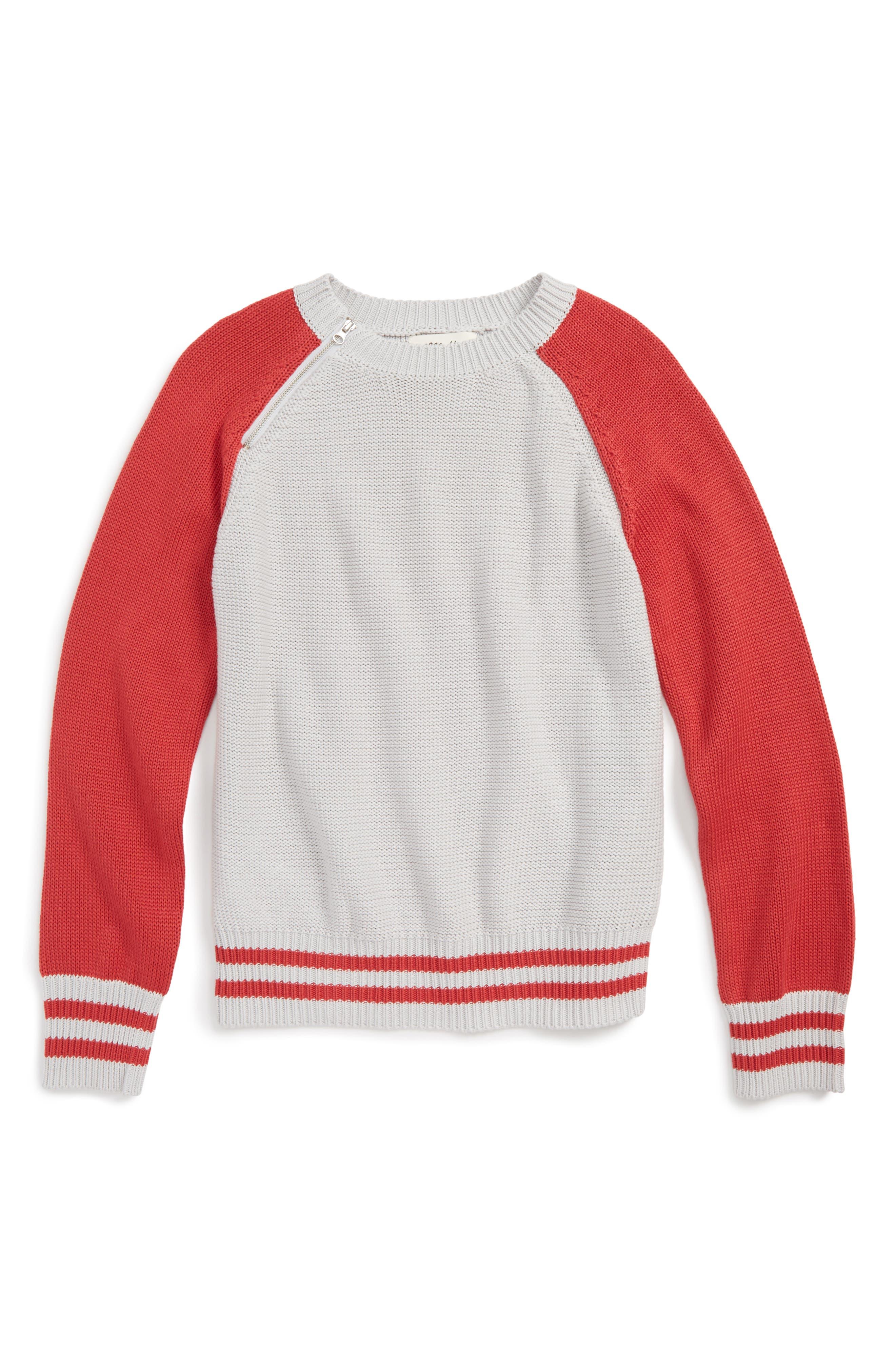 Colorblock Raglan Sweater,                         Main,                         color, Orange/ Ivo